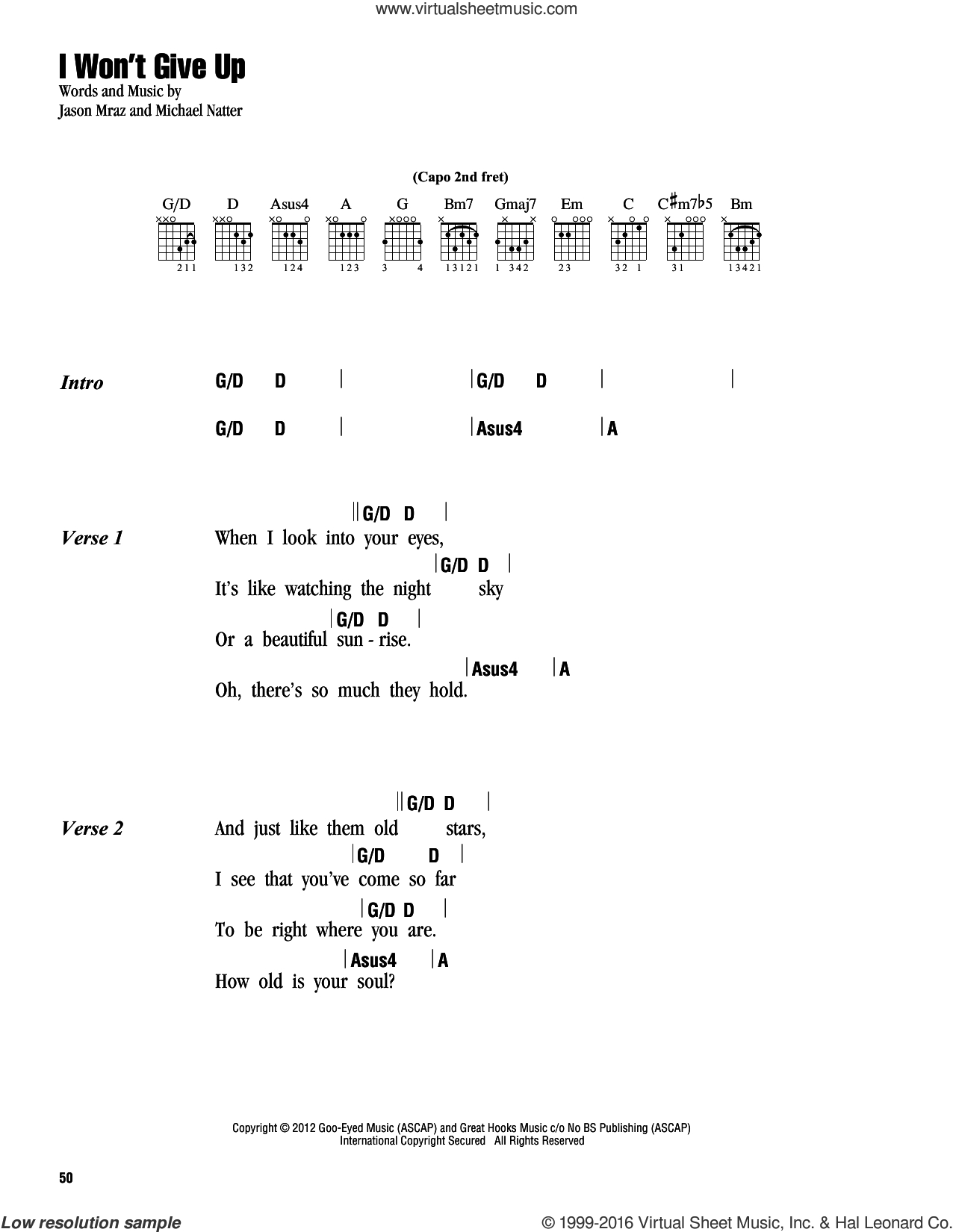 I Won T Give Up Chords Mraz I Wont Give Up Sheet Music For Guitar Chords Pdf
