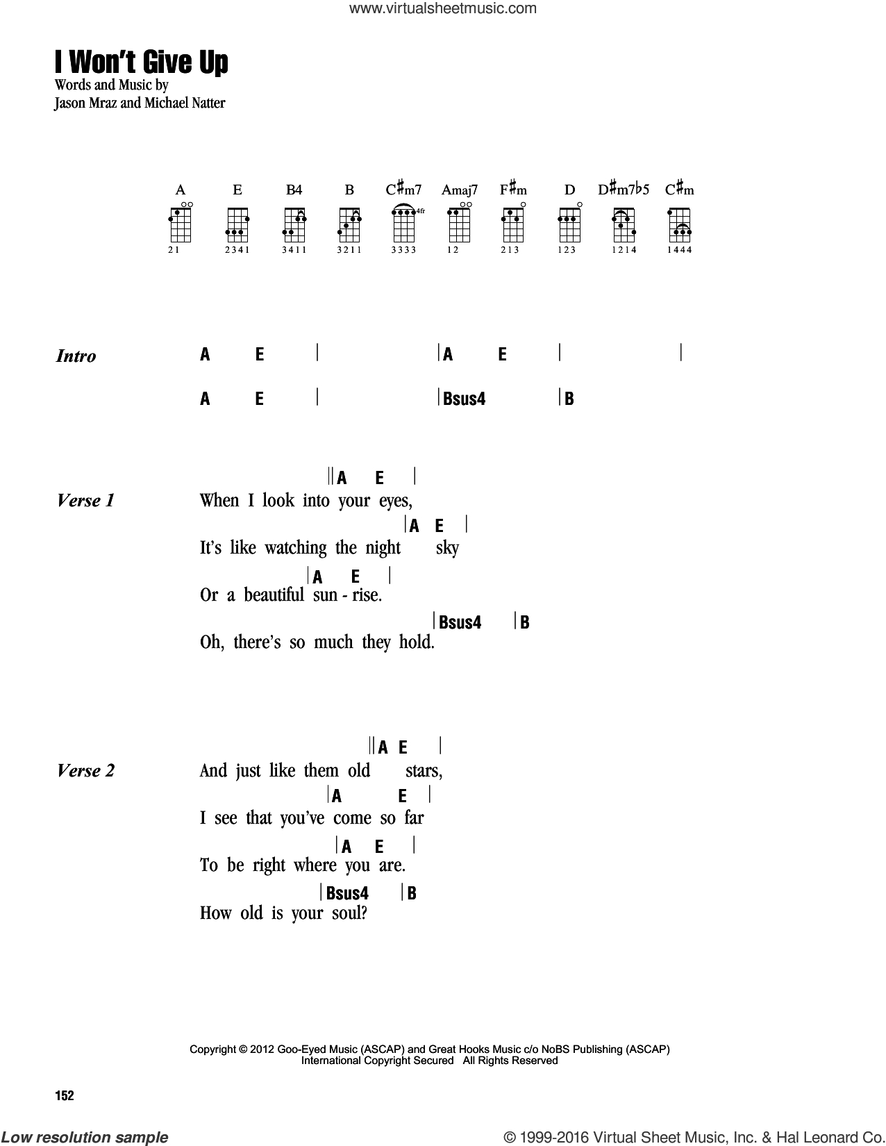 I Won T Give Up Chords Mraz I Wont Give Up Sheet Music For Ukulele Chords Pdf
