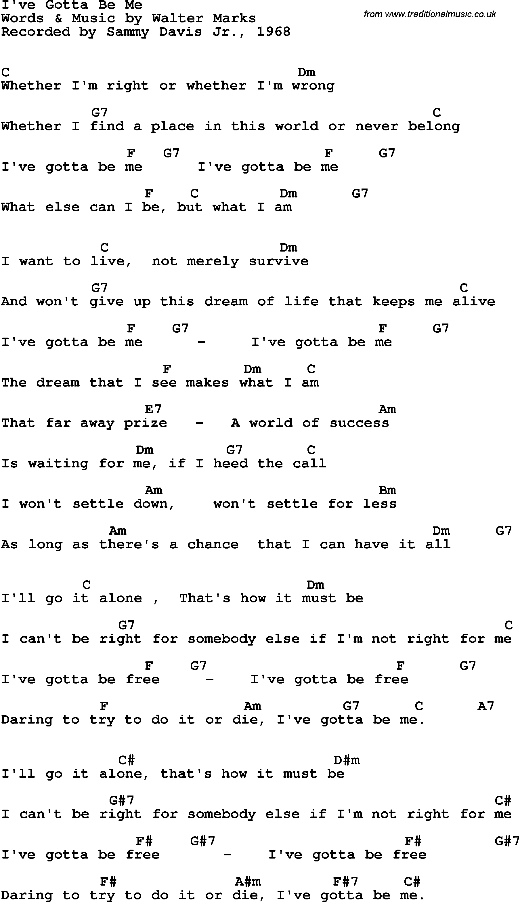 I Won T Give Up Chords Song Lyrics With Guitar Chords For Ive Gotta Be Me Sammy Davis Jr