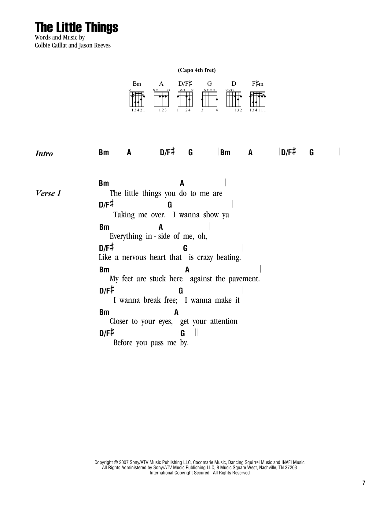 I Won T Give Up Chords The Little Things Colbie Caillat Piano Vocal Guitar Right Hand Melody Digital Sheet Music