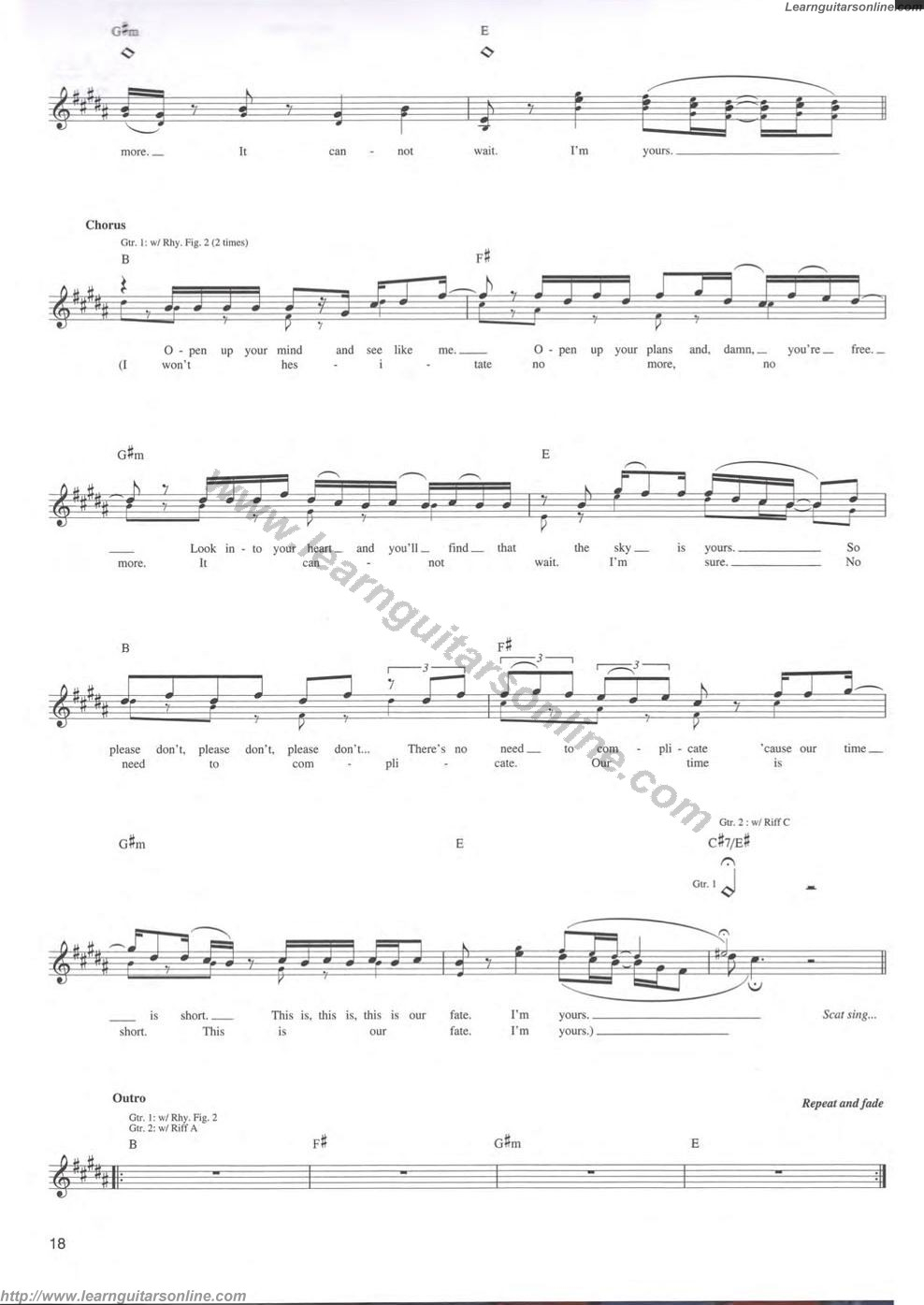 Im Yours Chords Im Yours Jason Mraz6 Free Guitar Sheet Music Tabs Chords