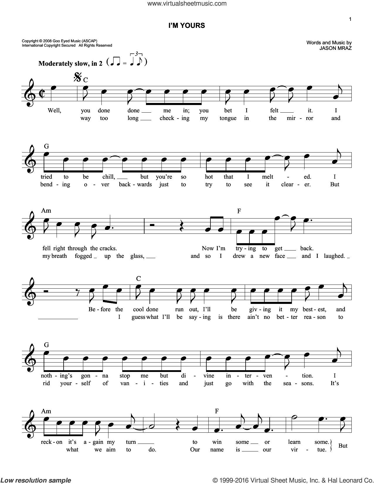 Im Yours Chords Mraz Im Yours Sheet Music Fake Book Pdf