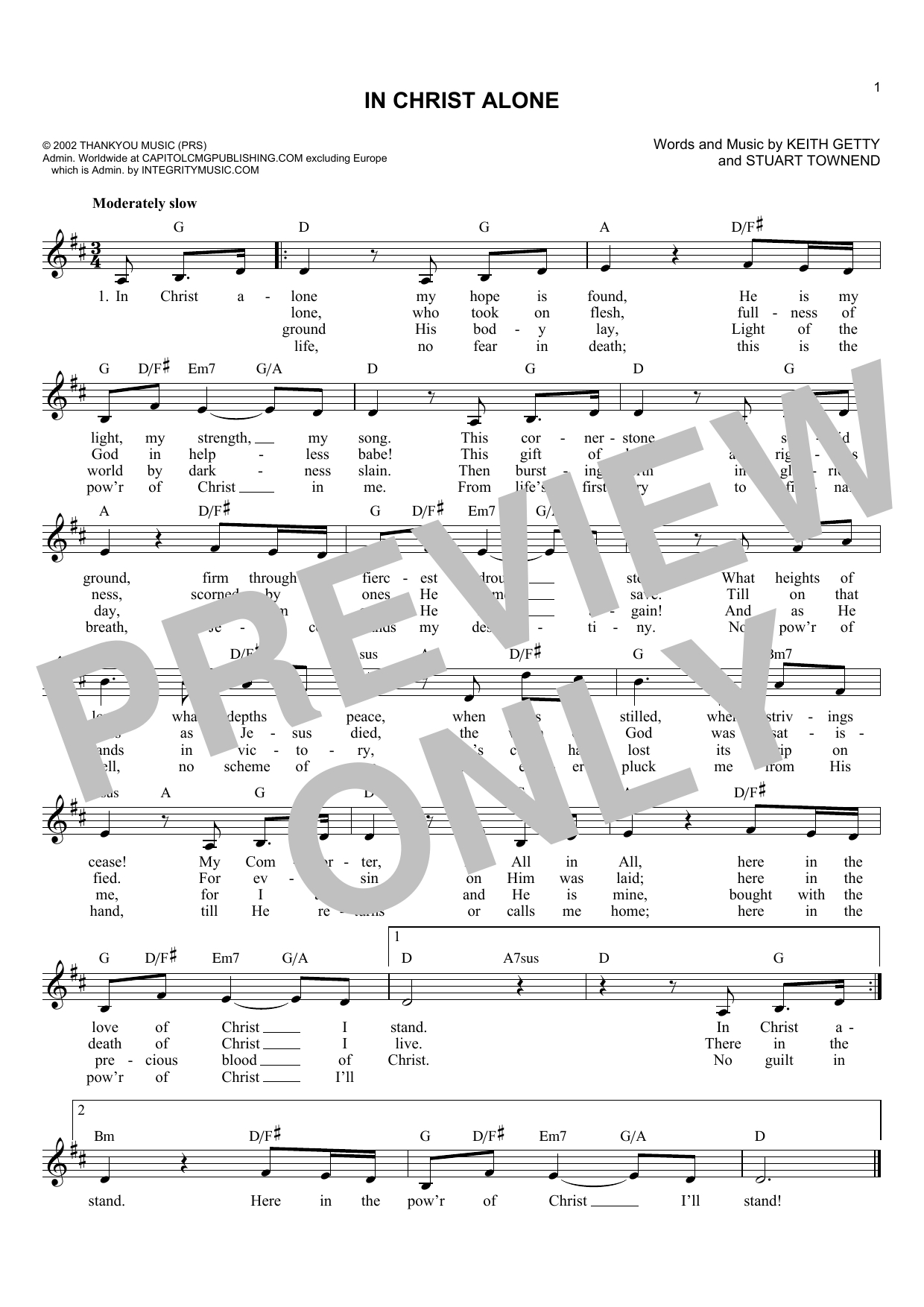 In Christ Alone Chords In Christ Alone Lead Sheet Fake Book Print Sheet Music Now