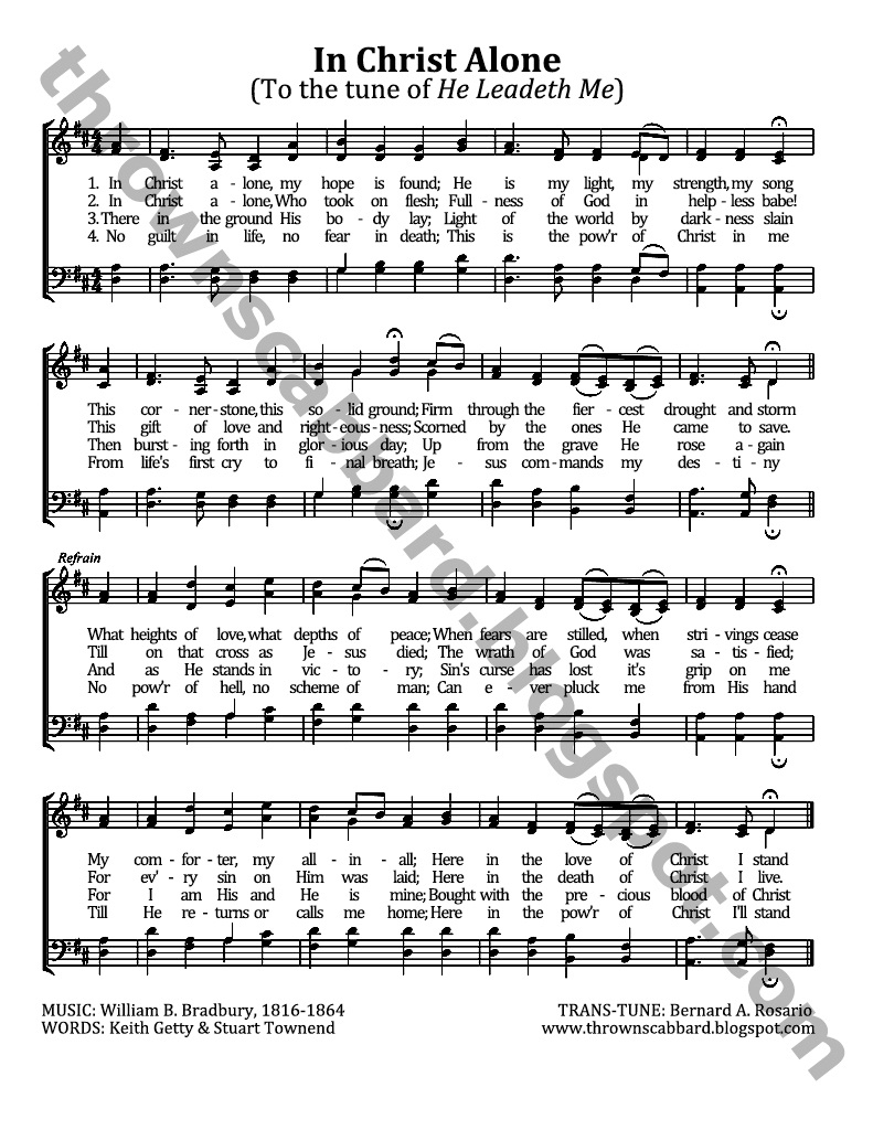 In Christ Alone Chords In Christ Alone To The Tune Of He Leadeth Me Thrown Scabbard