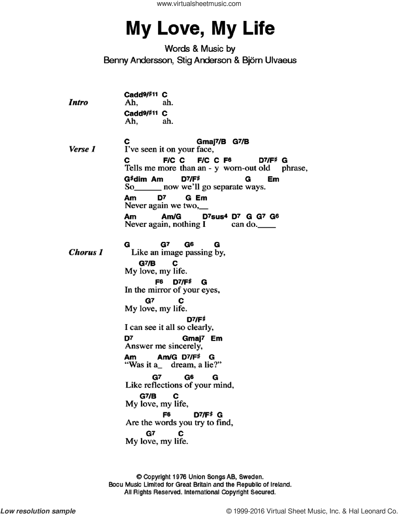 In My Life Chords Abba My Love My Life Sheet Music For Guitar Chords Pdf
