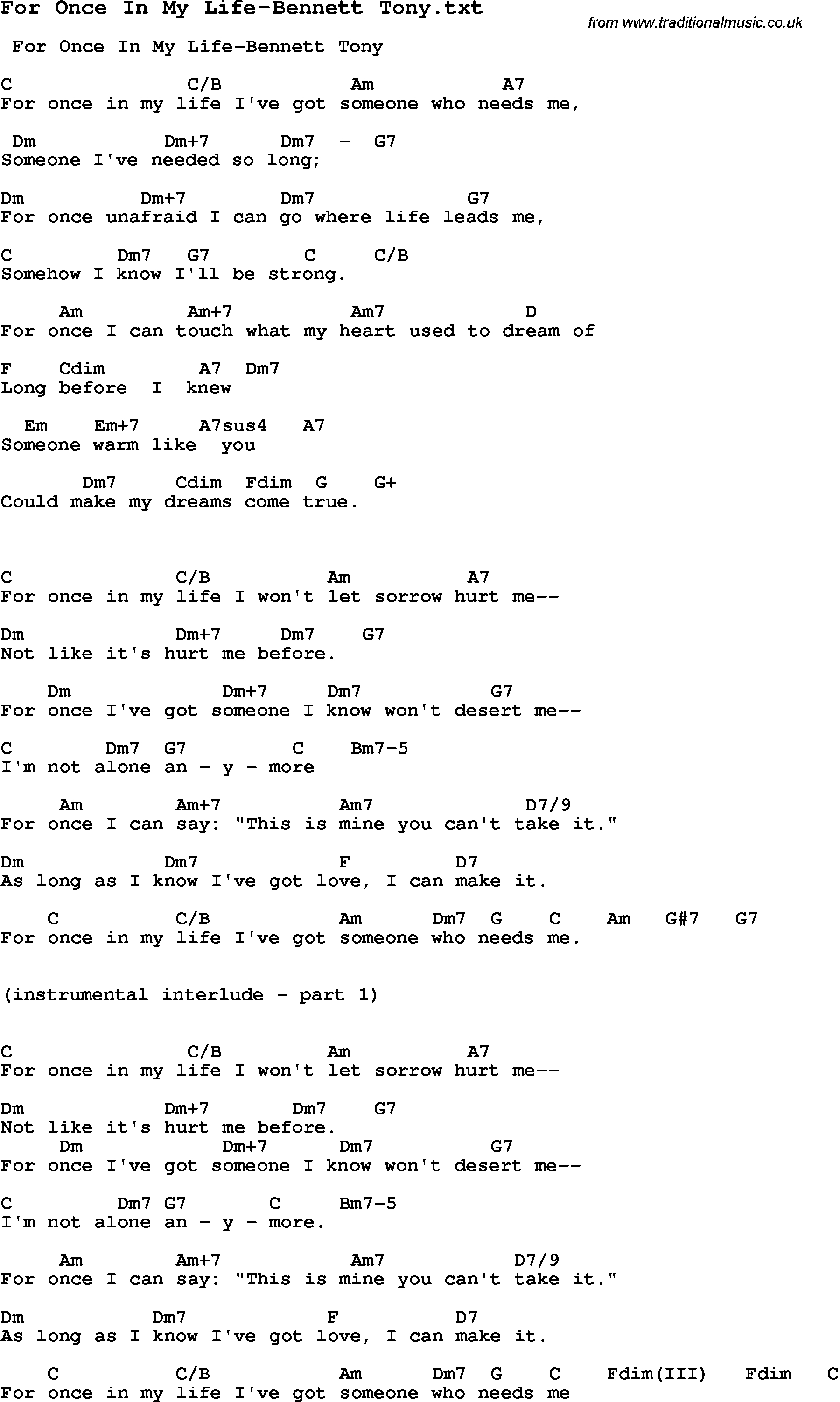 In My Life Chords Jazz Song For Once In My Life Bennett Tony With Chords Tabs And