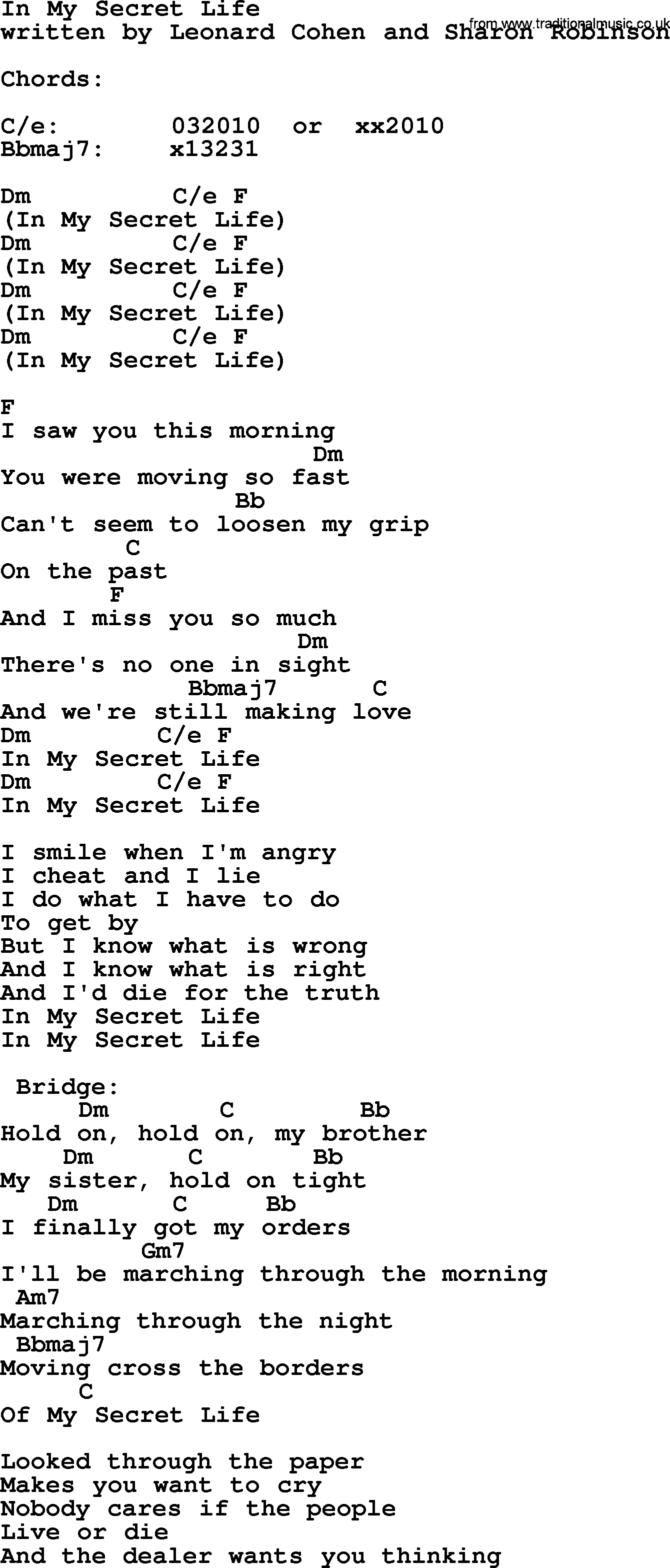 In My Life Chords Leonard Cohen Song In My Secret Life Lyrics And Chords