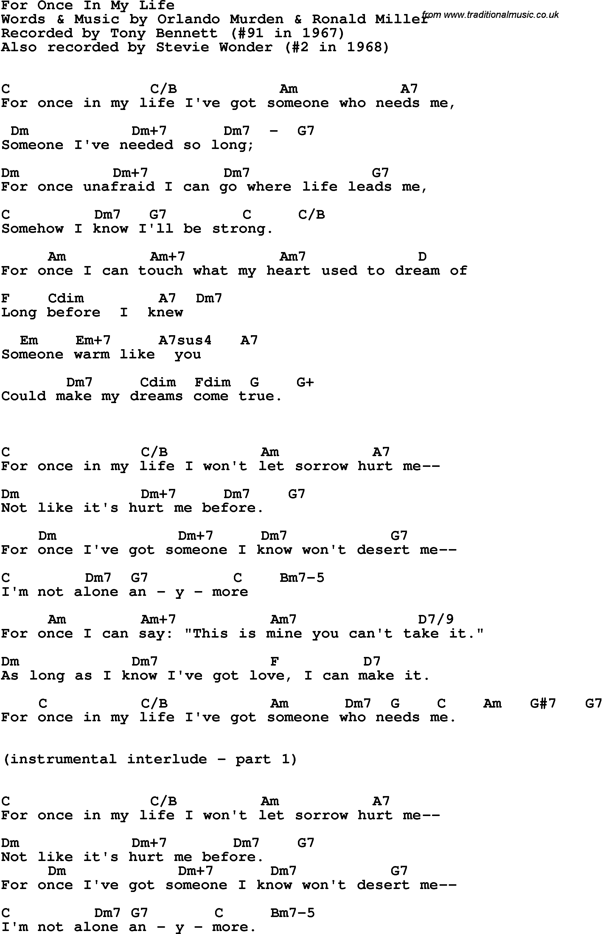 In My Life Chords Song Lyrics With Guitar Chords For For Once In My Life Tony