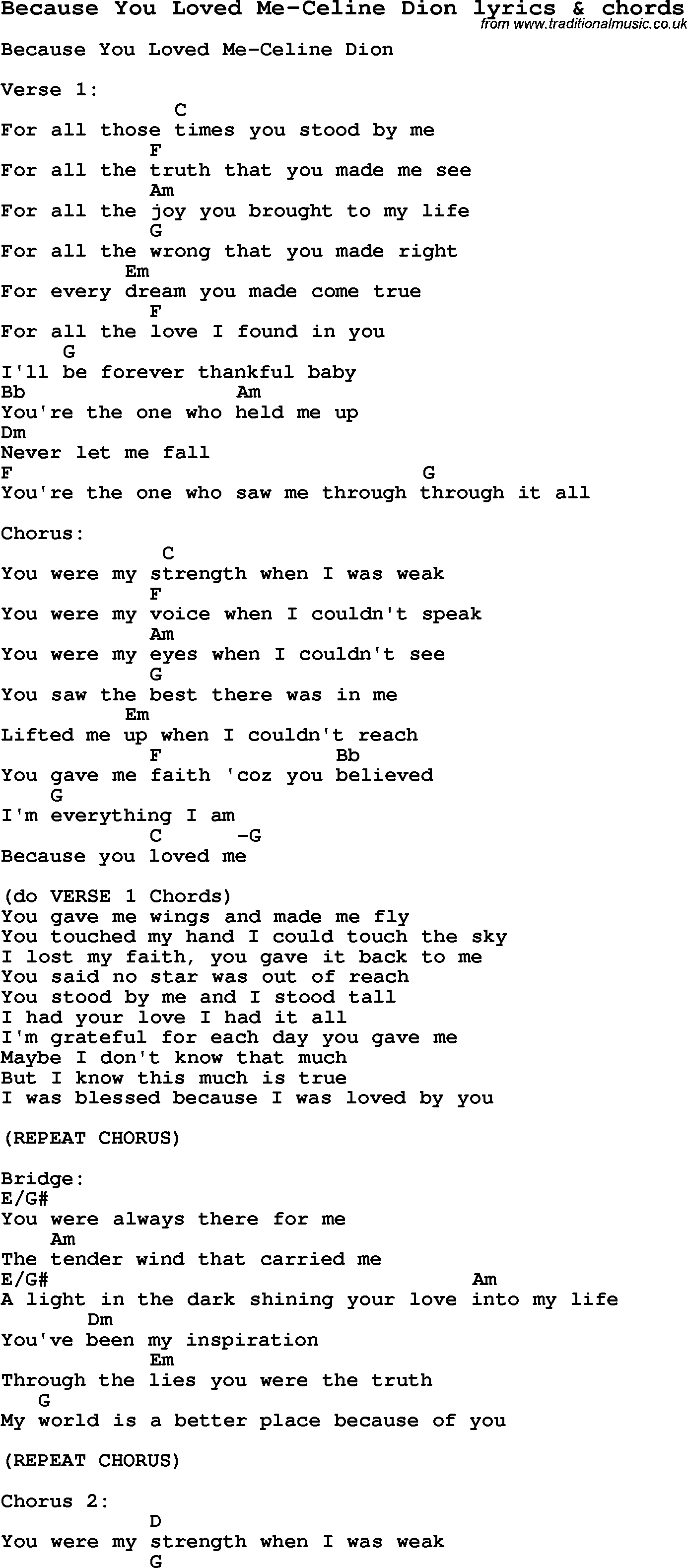 Into You Chords Love Song Lyrics Forbecause You Loved Me Celine Dion With Chords