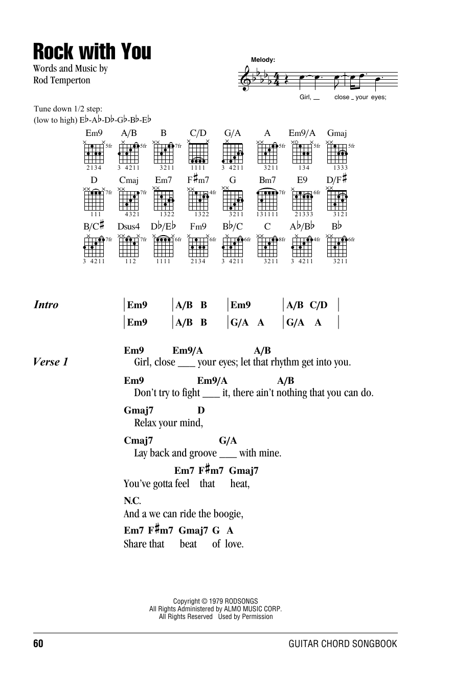 Into You Chords Rock With You Michael Jackson Piano Vocal Guitar Right Hand Melody Digital Sheet Music