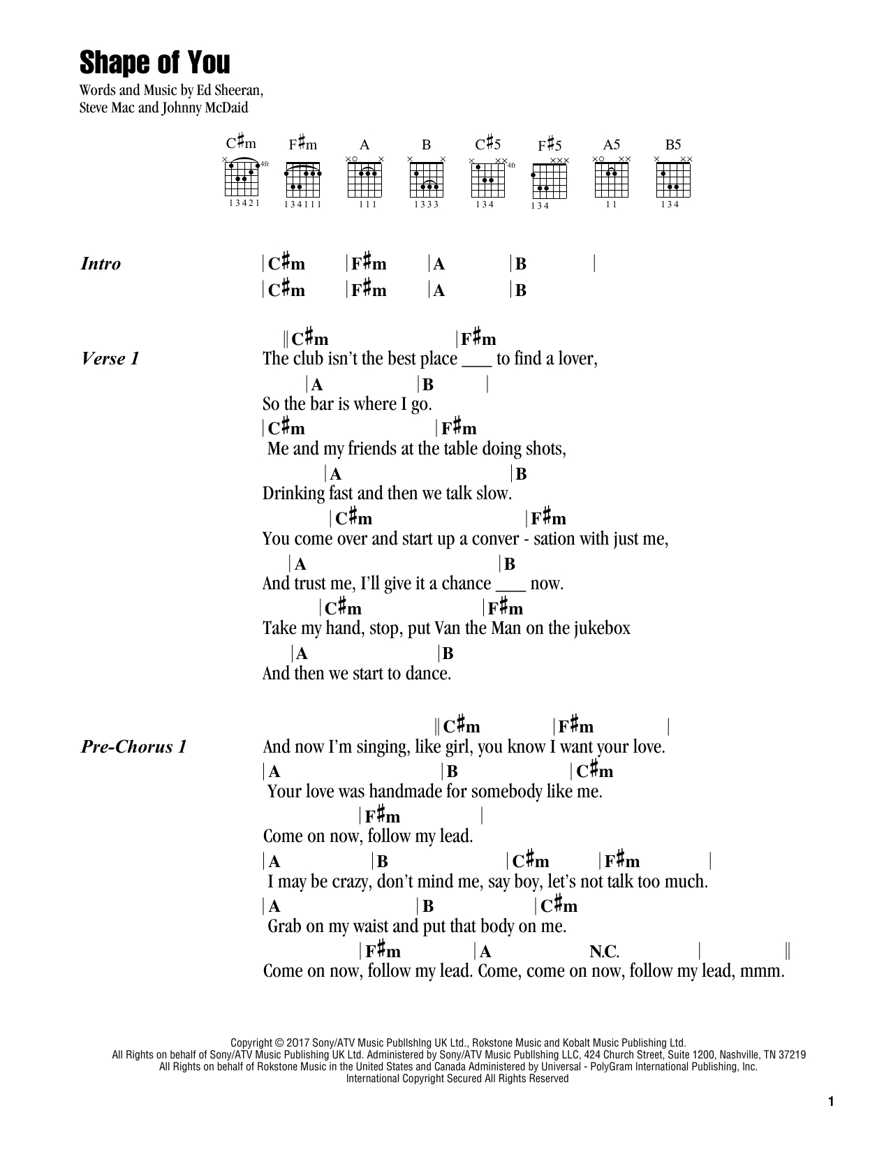 Into You Chords Shape Of You Sheet Music Ed Sheeran Guitar Chordslyrics