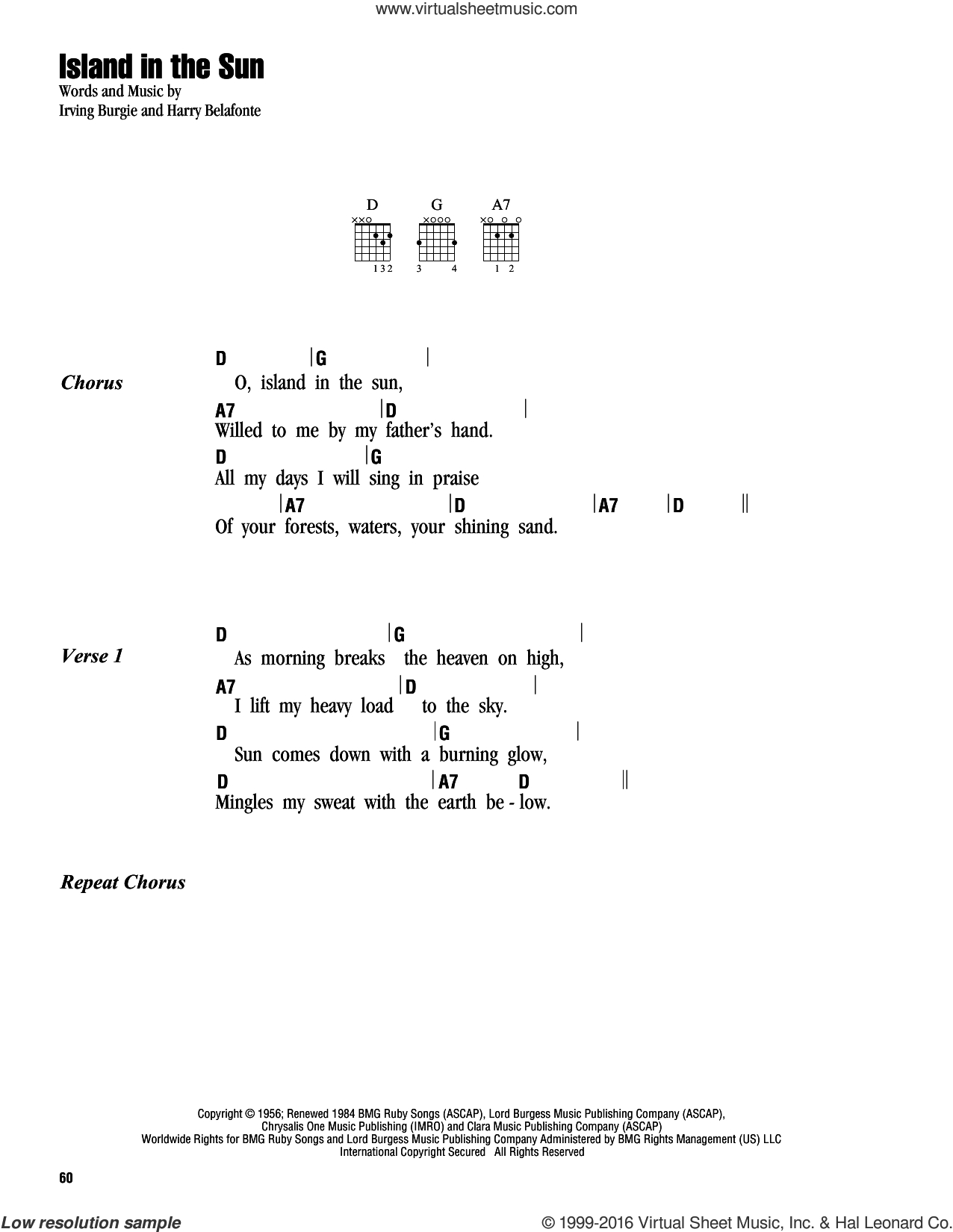 Island In The Sun Chords Belafonte Island In The Sun Sheet Music For Guitar Chords