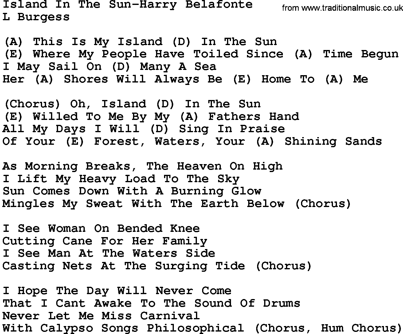 Island In The Sun Chords Country Musicisland In The Sun Harry Belafonte Lyrics And Chords