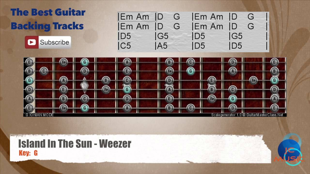 Island In The Sun Chords Island In The Sun Weezer Guitar Backing Track With Scale And Chords