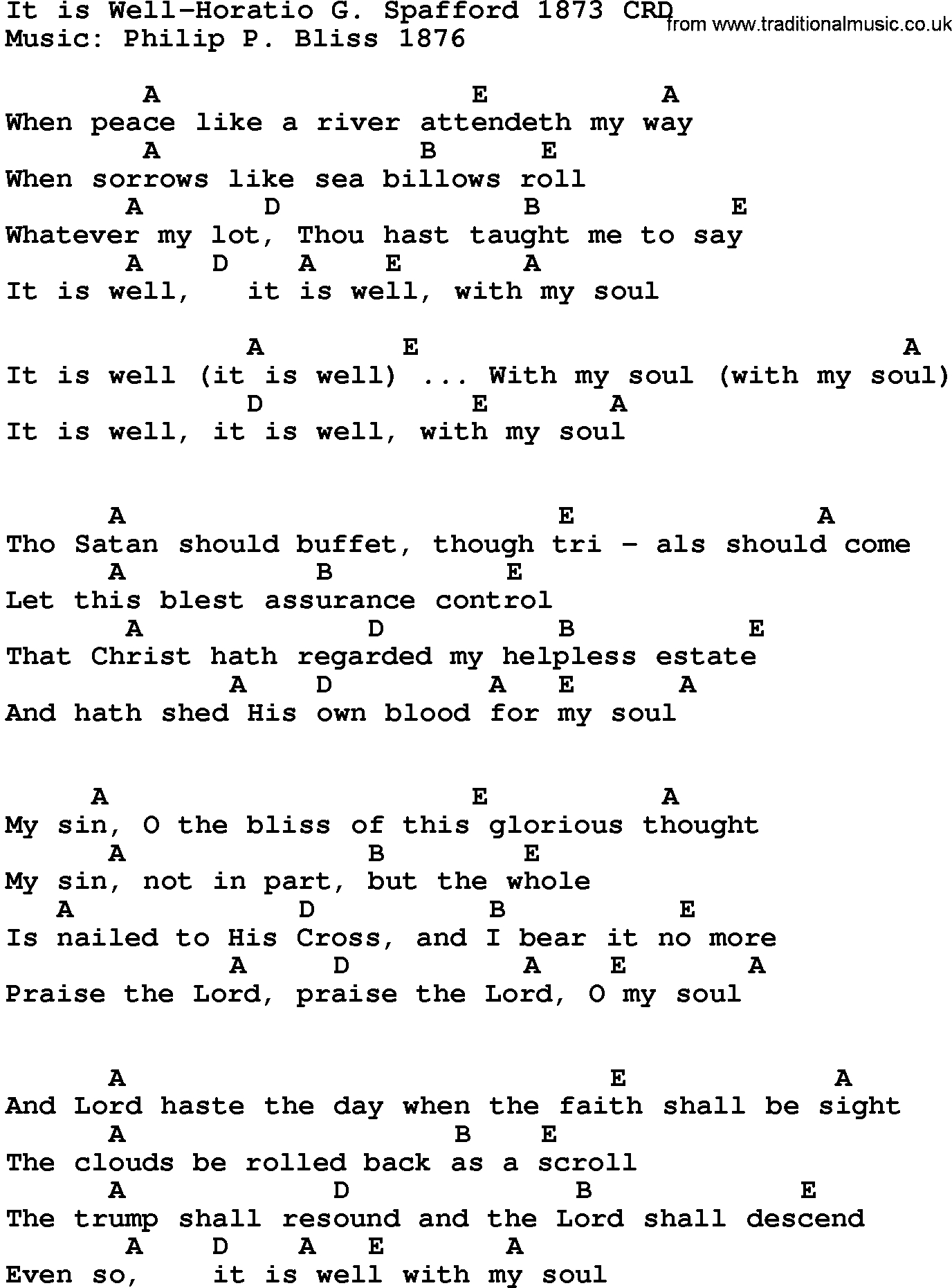 It Is Well Chords Gospel Song It Is Well Horatio G Spafford 1873 Lyrics And Chords
