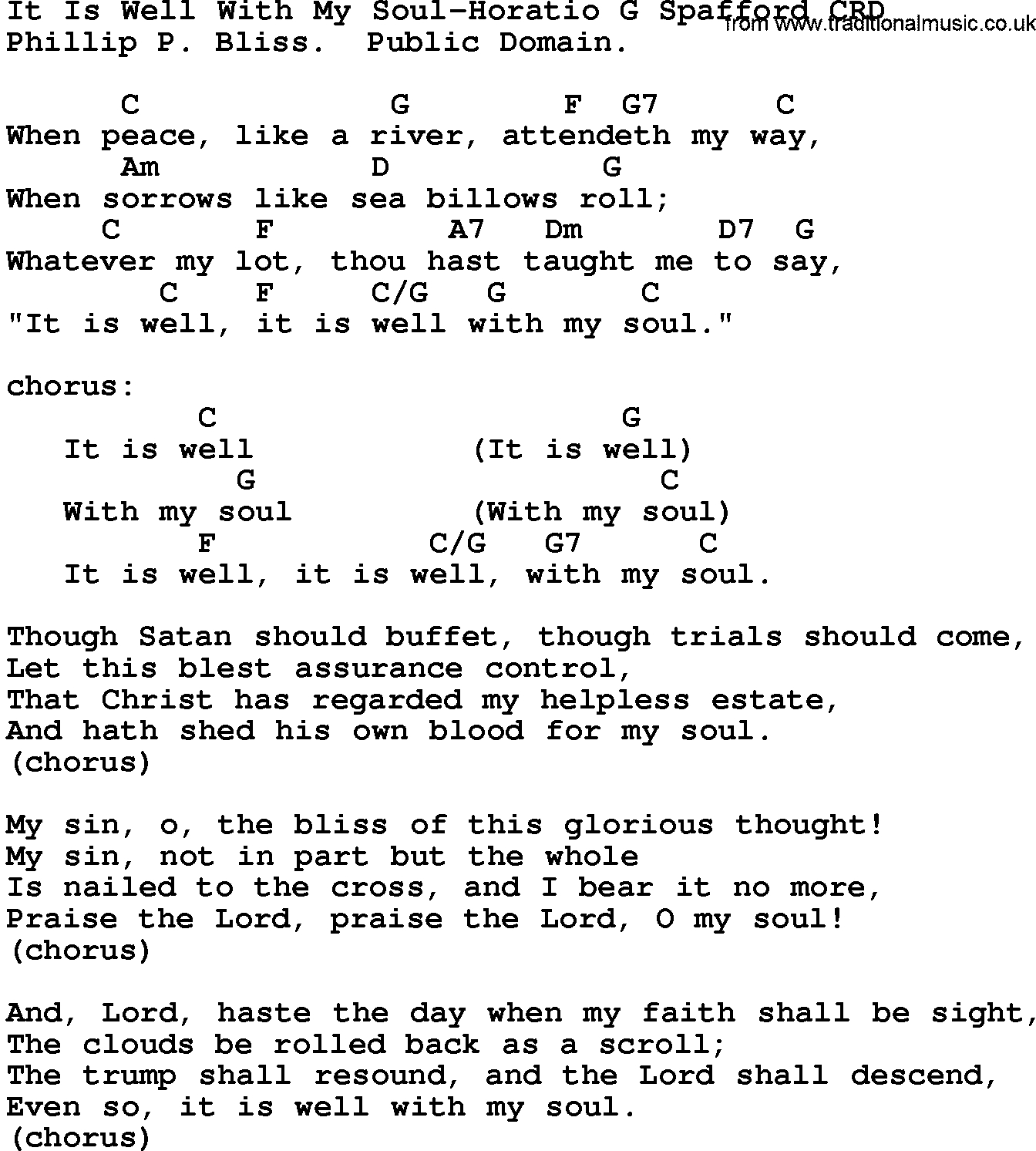 It Is Well Chords Gospel Song It Is Well With My Soul Horatio G Spafford Lyrics And