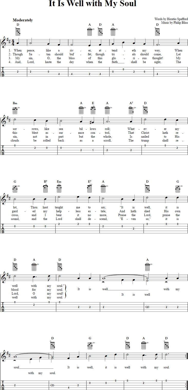 It Is Well Chords It Is Well With My Soul Chords Sheet Music And Tab For Banjo With
