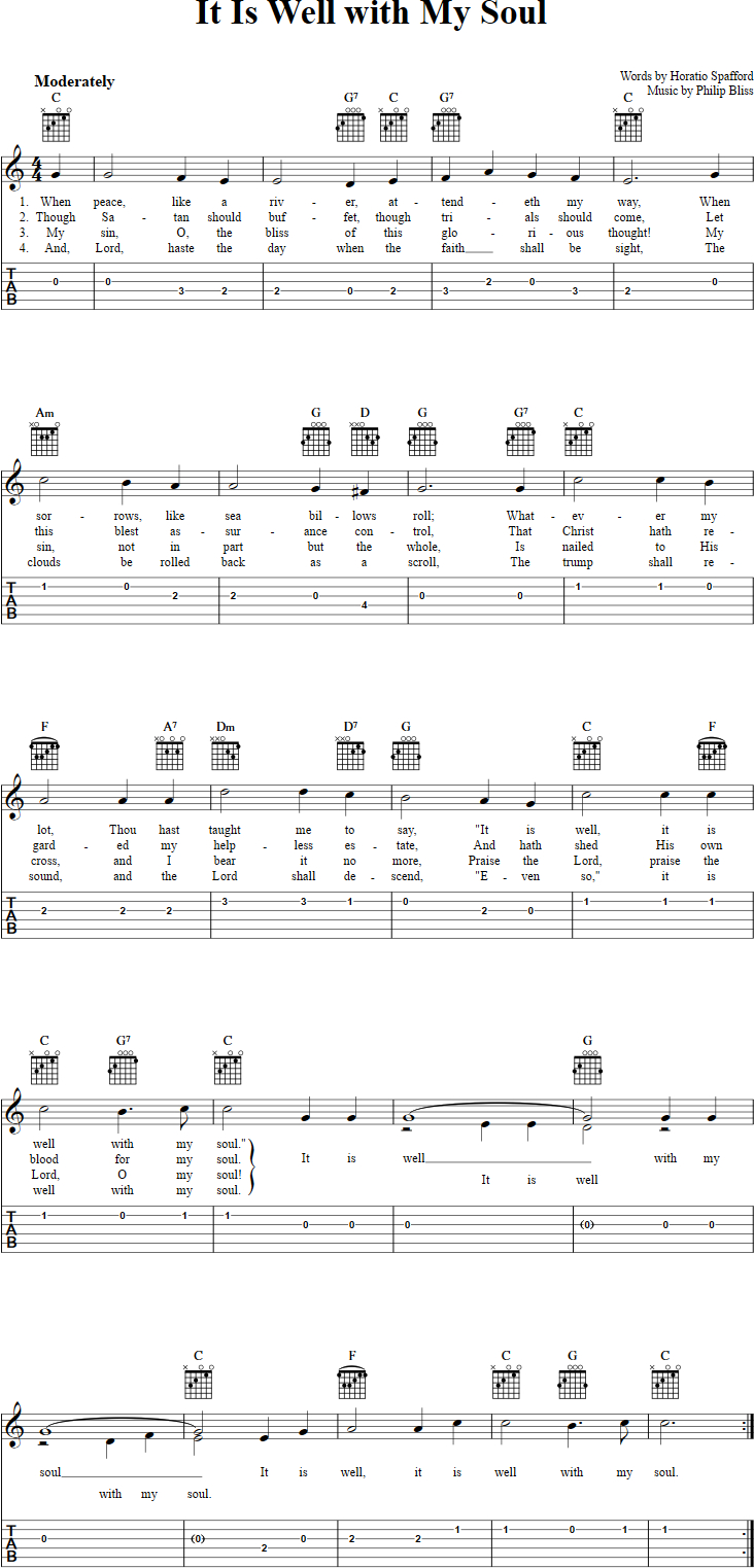 It Is Well Chords It Is Well With My Soul Chords Sheet Music And Tab For Guitar