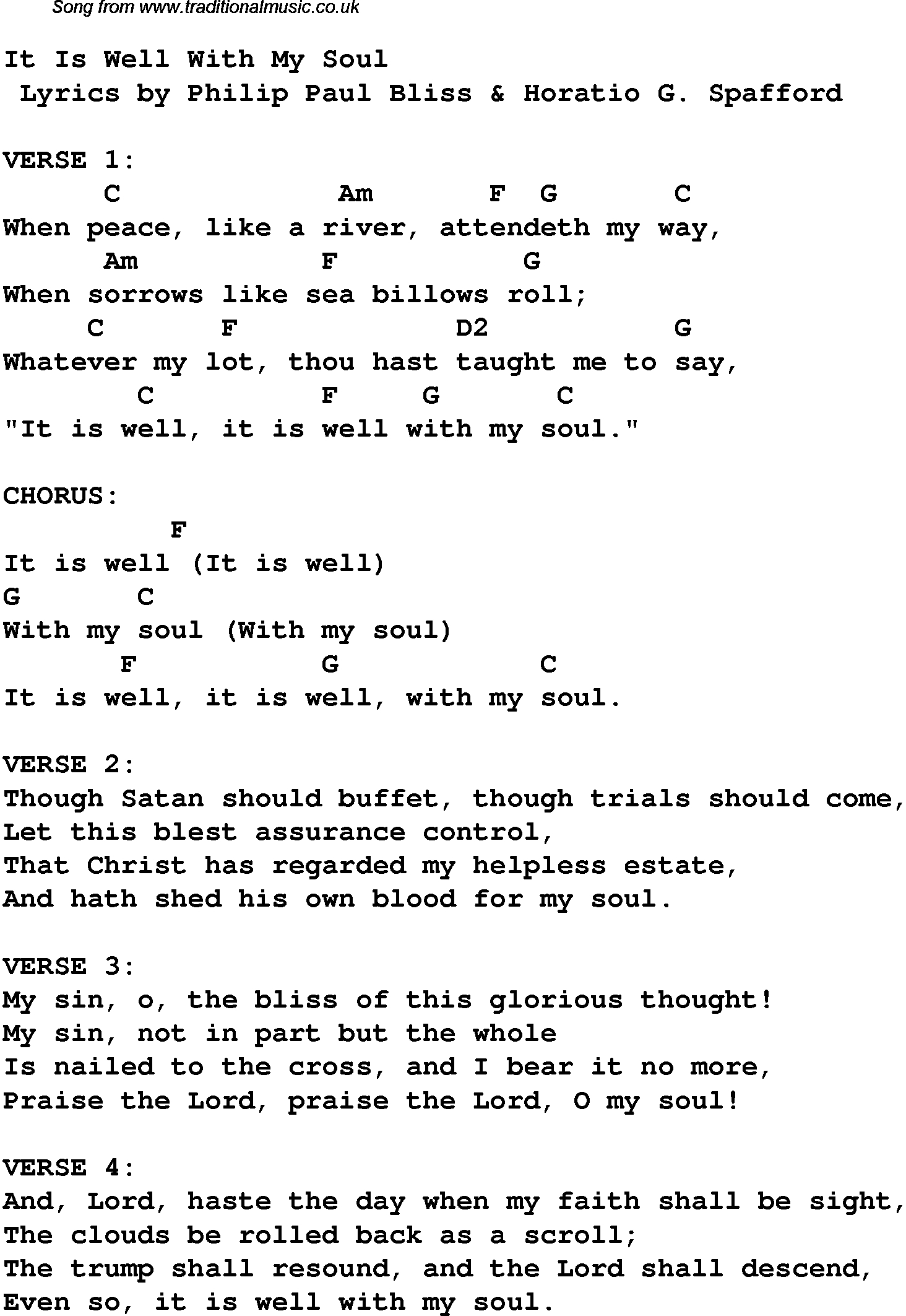 It Is Well Chords It Is Well With My Soul Christian Gospel Song Lyrics And Chords