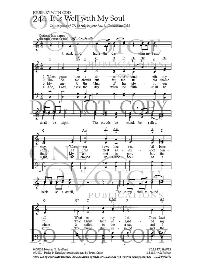 It Is Well Chords It Is Well With My Soul Sheet Music With Guitar Chords