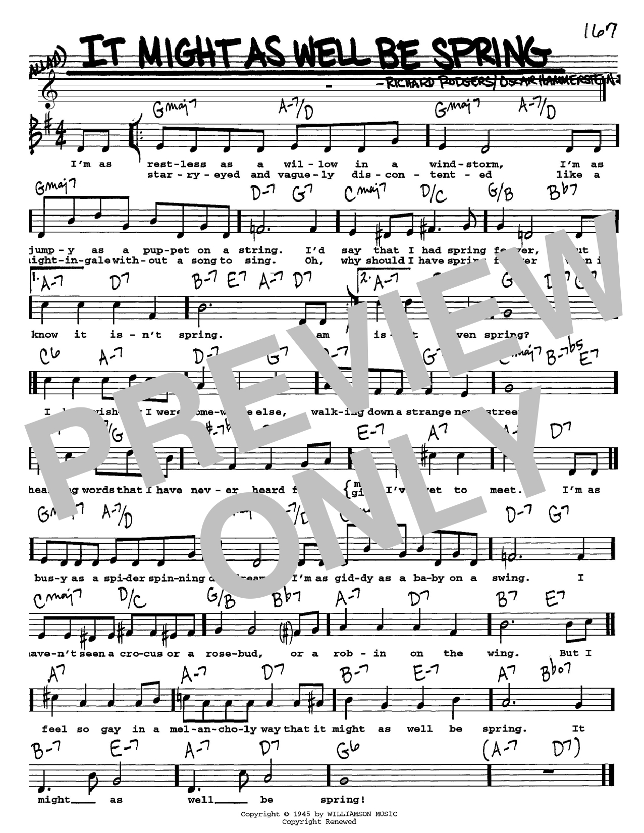It Is Well Chords It Might As Well Be Spring Rodgers Hammerstein Real Book Melody Lyrics Chords C Instruments Digital Sheet Music