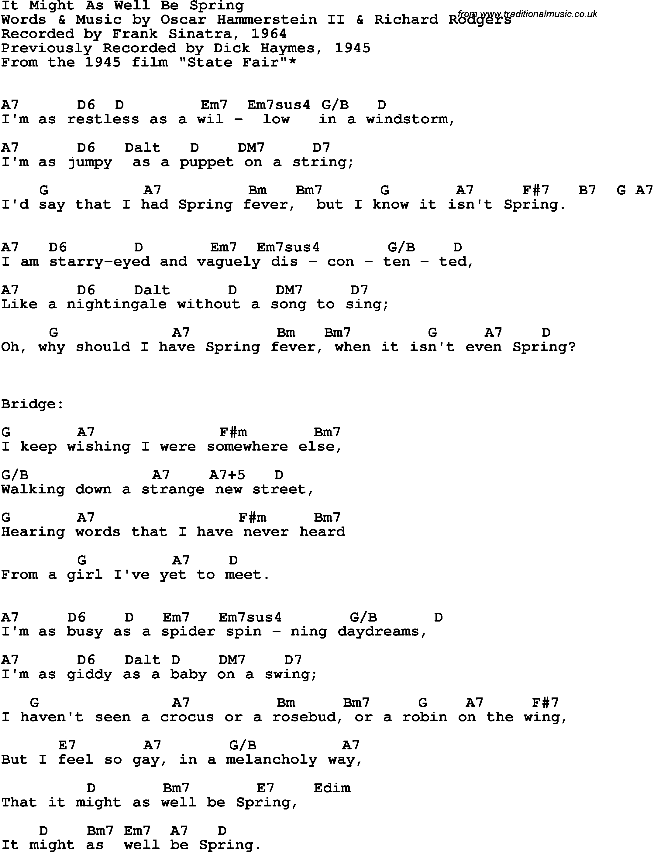 It Is Well Chords Song Lyrics With Guitar Chords For It Might As Well Be Spring