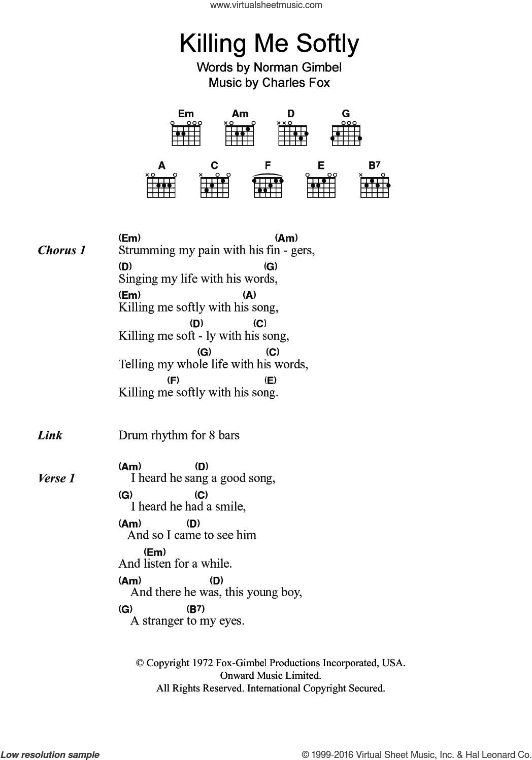 Killing Me Softly Chords Gimbel Killing Me Softly Sheet Music For Guitar Chords Pdf