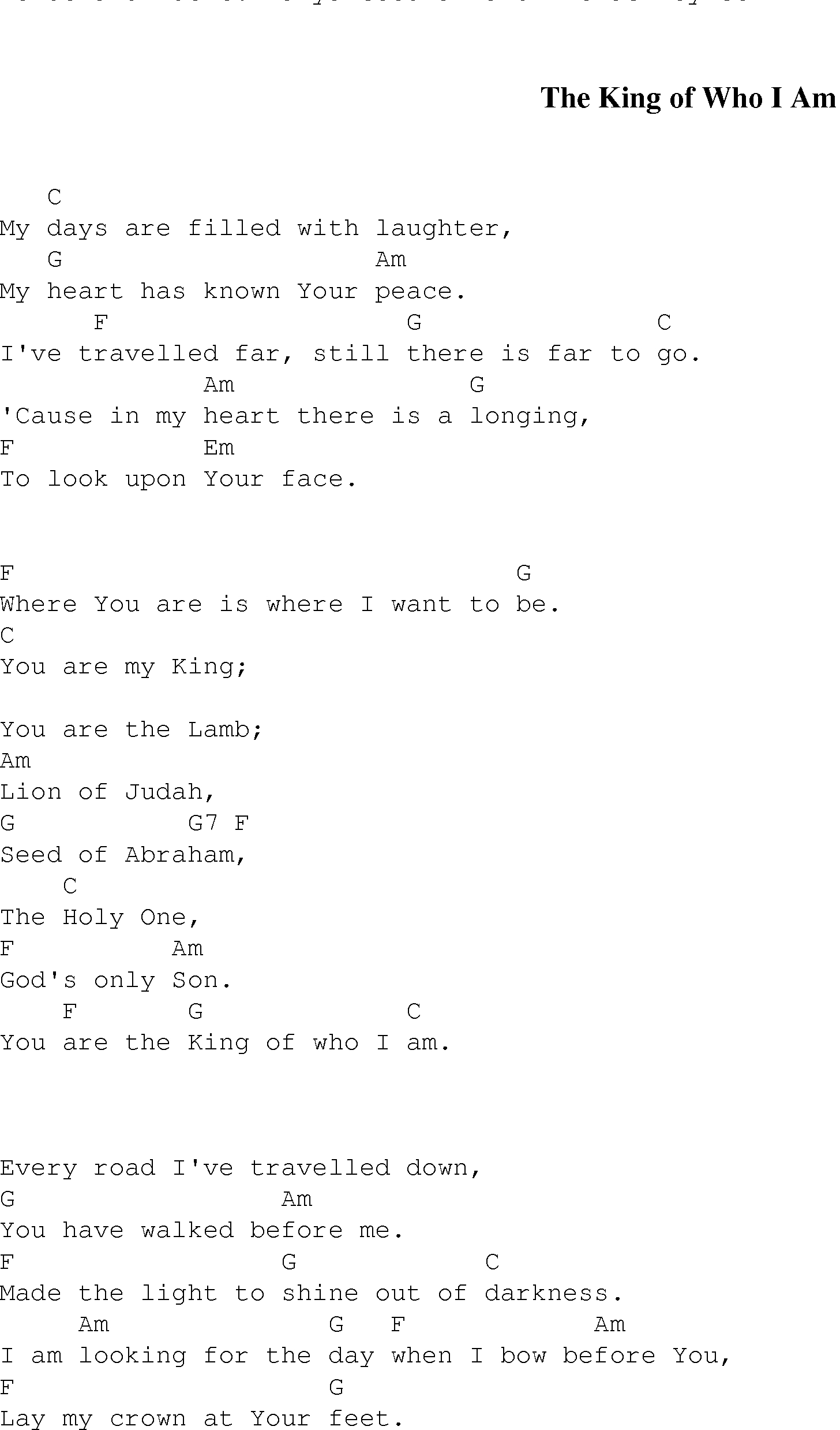 King Of My Heart Chords The King Of Who I Am Christian Gospel Song Lyrics And Chords