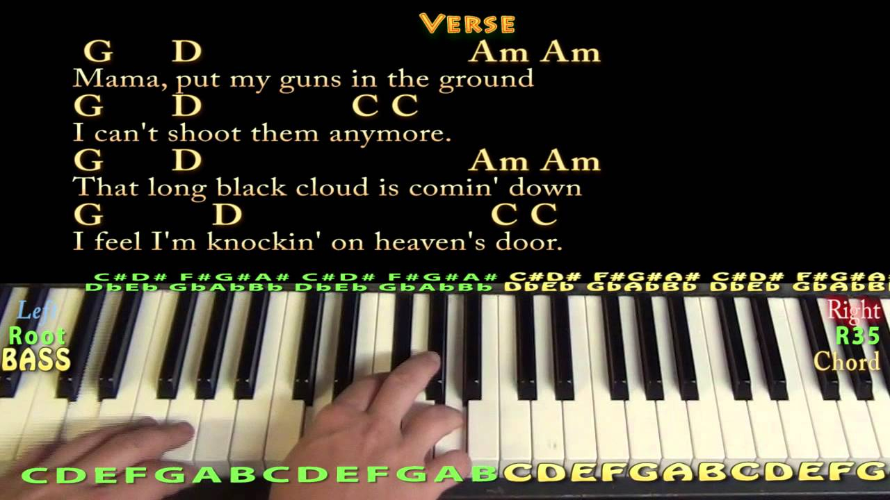 Knocking On Heavens Door Chords Knocking On Heavens Door Bob Dylan Piano Cover Lesson With Chordslyrics