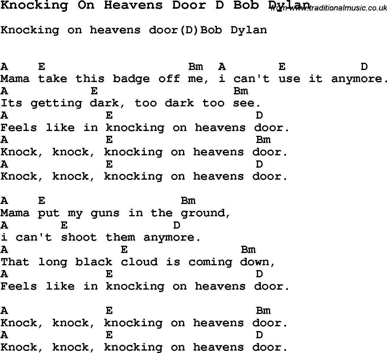 Knocking On Heavens Door Chords Song Knocking On Heavens Door D Bob Dylan Song Lyric For Vocal