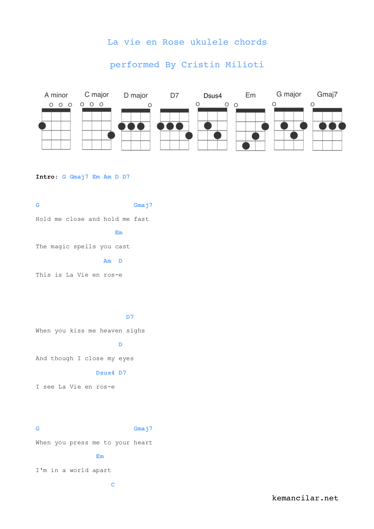 La Vie En Rose Ukulele Chords La Vie En Rose Ukulele Chords Free Sheet Music