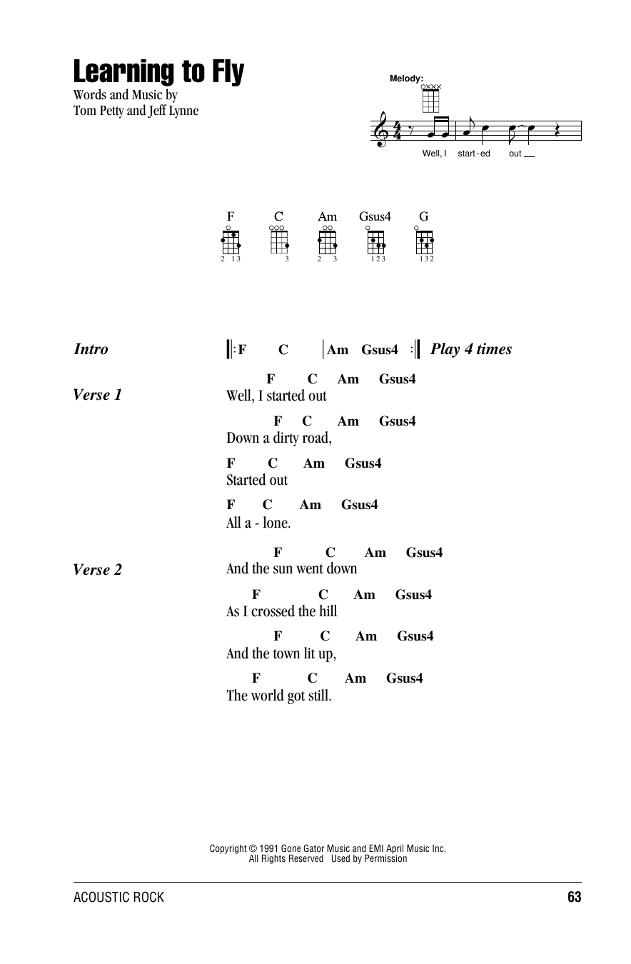 Last Dance With Mary Jane Chords Sheet Music Digital Files To Print Licensed Tom Petty Digital