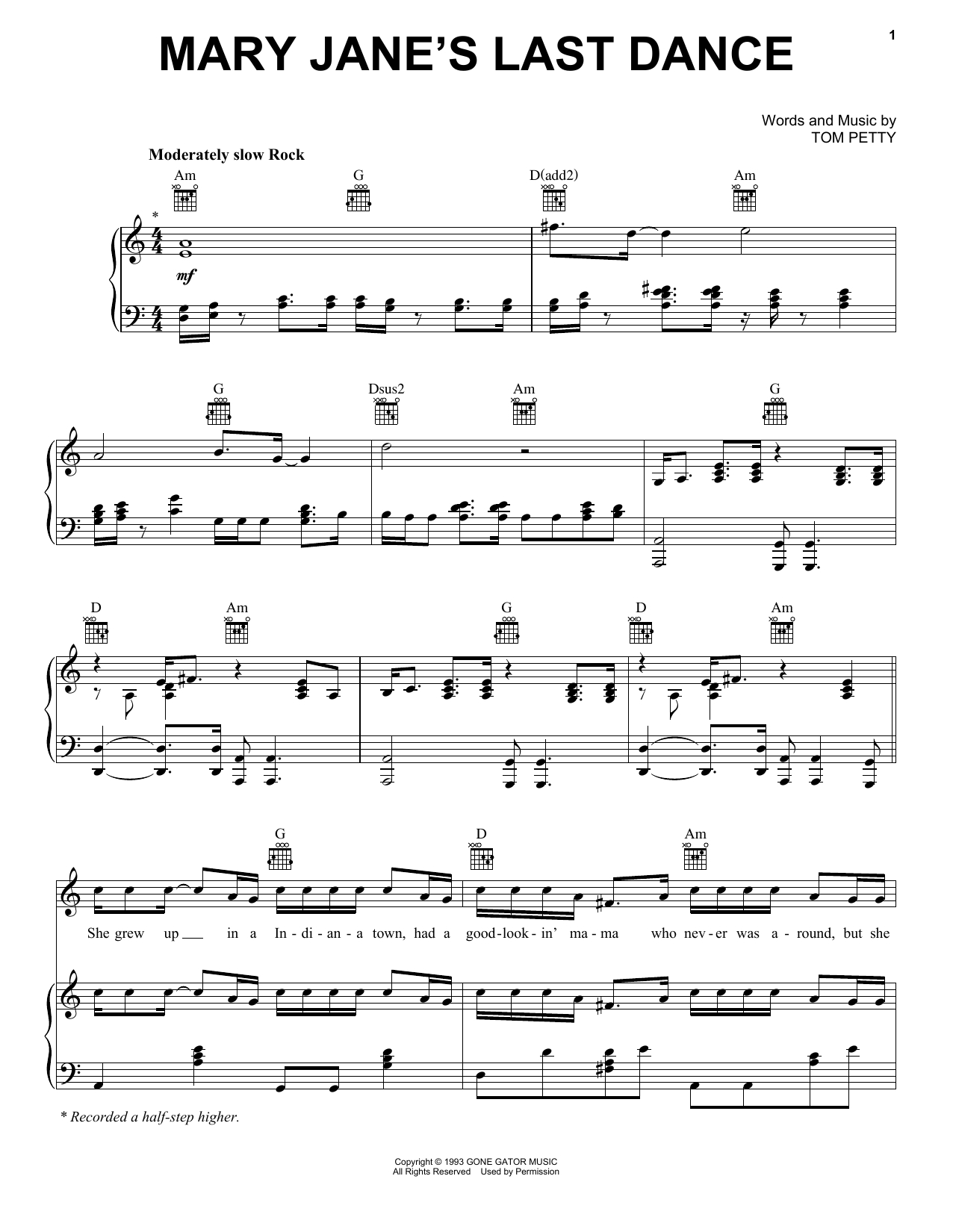 Last Dance With Mary Jane Chords Tom Petty And The Heartbreakers Mary Janes Last Dance Sheet Music Notes Chords Download Printable Guitar Tab Single Guitar Sku 58845