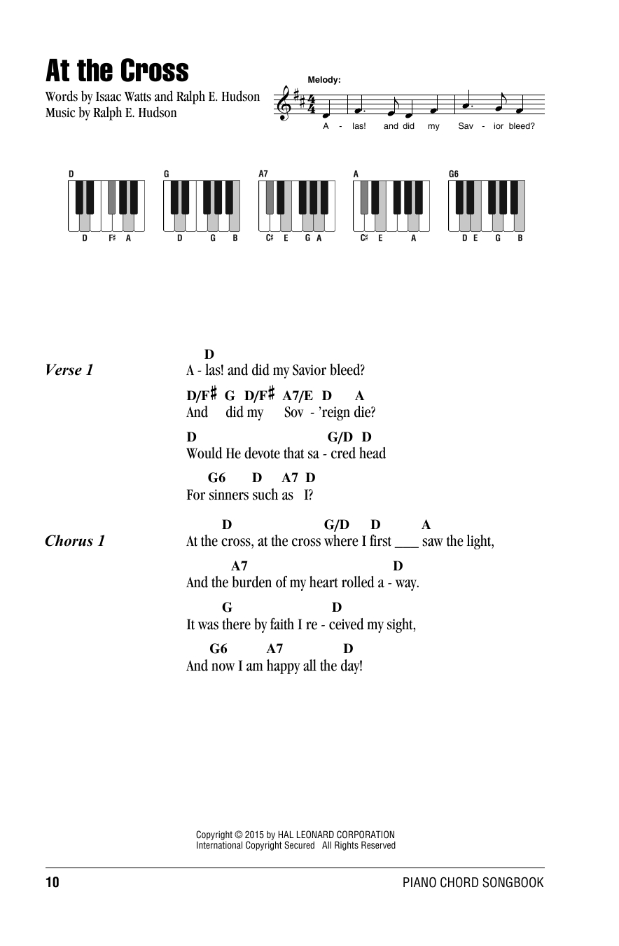 Lead Me To The Cross Chords At The Cross Ralph E Hudson Piano Chordslyrics Digital Sheet Music