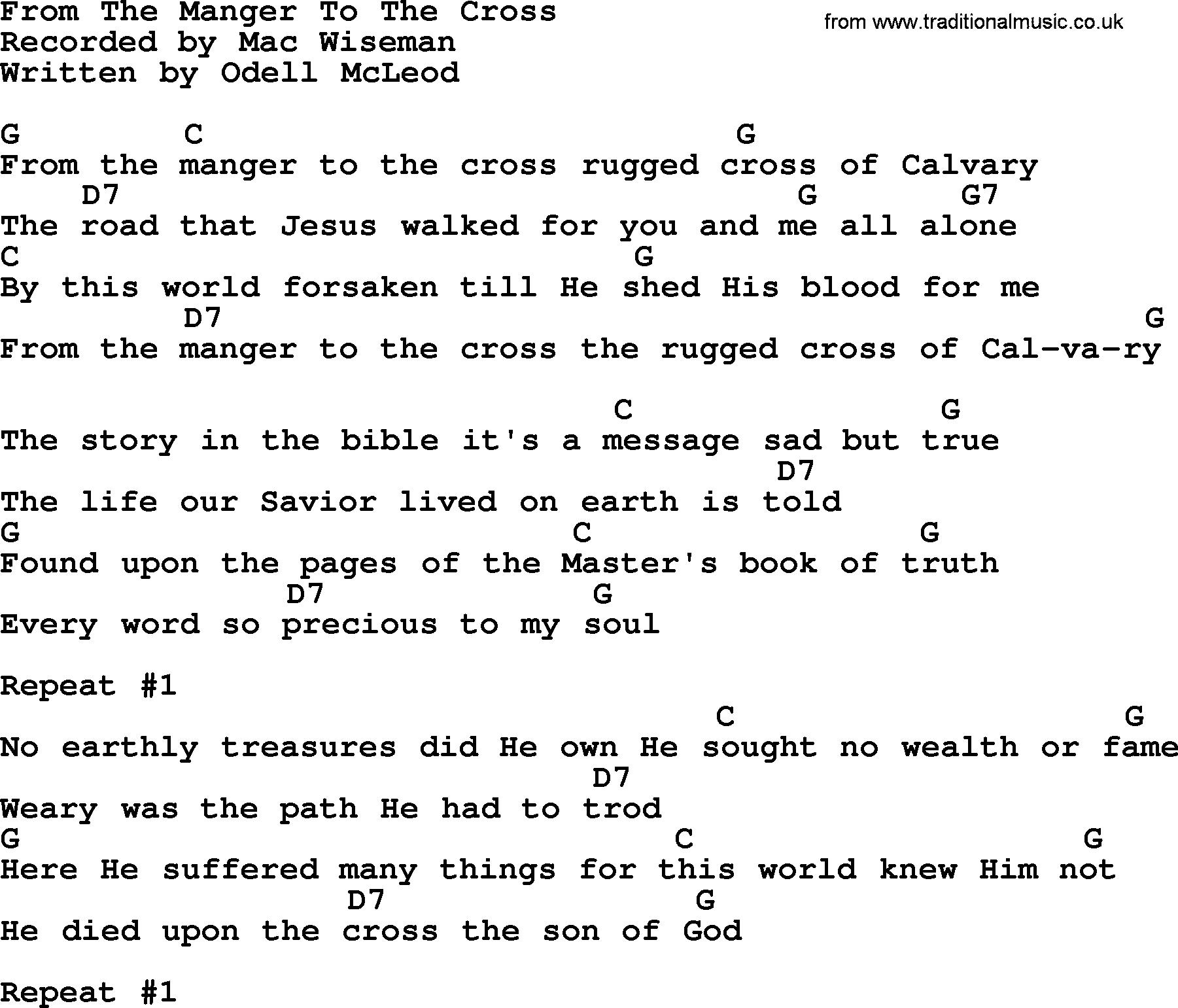Lead Me To The Cross Chords From The Manger To The Cross Bluegrass Lyrics With Chords