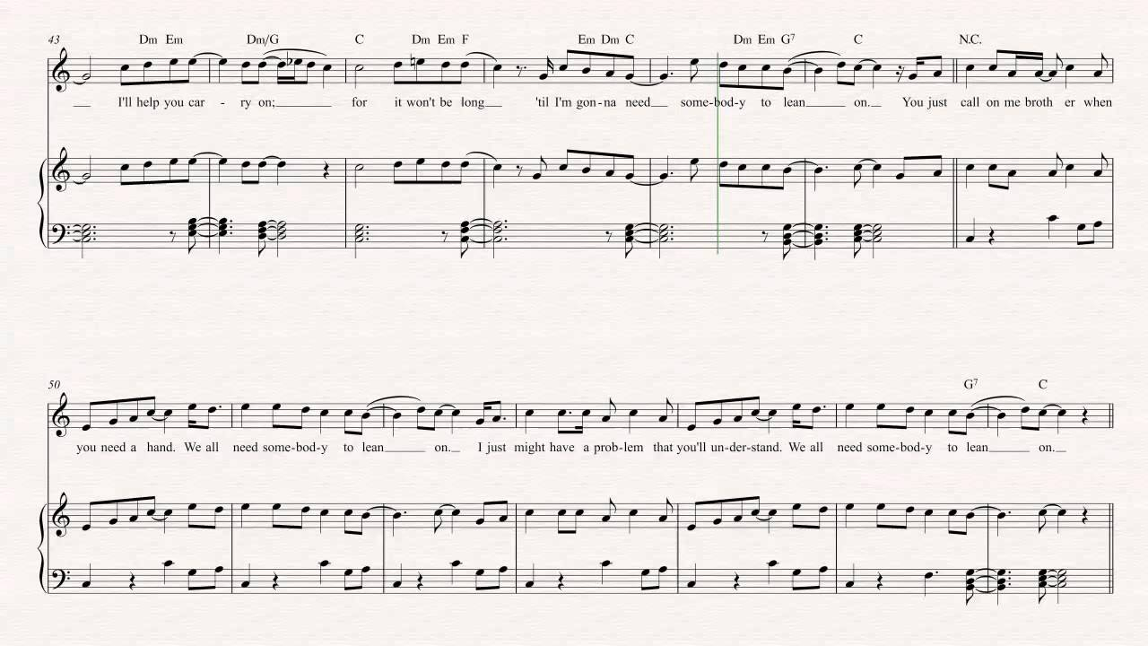 Lean On Me Chords Clarinet Lean On Me Bill Withers Sheet Music Chords Vocals