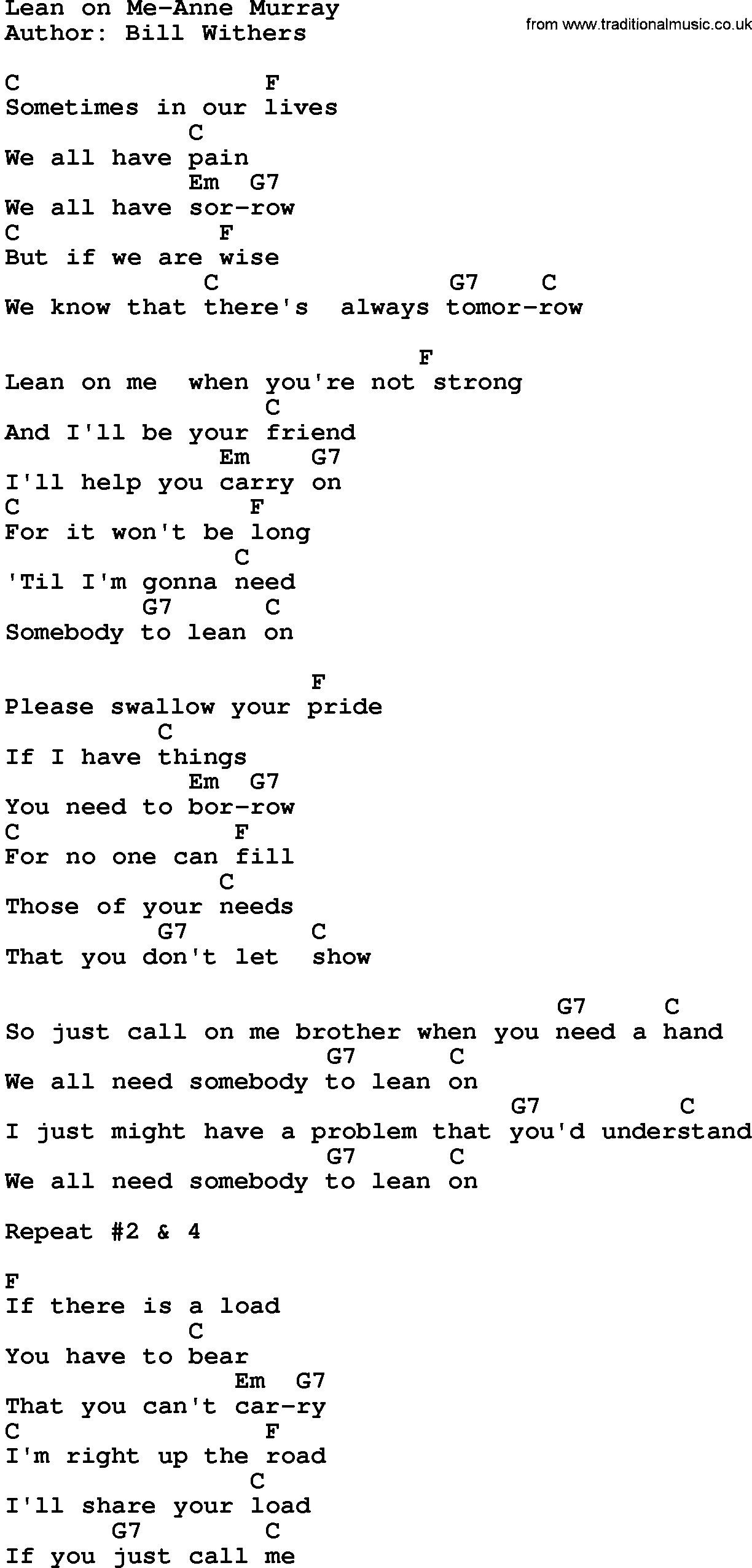 Lean On Me Chords Country Musiclean On Me Anne Murray Lyrics And Chords