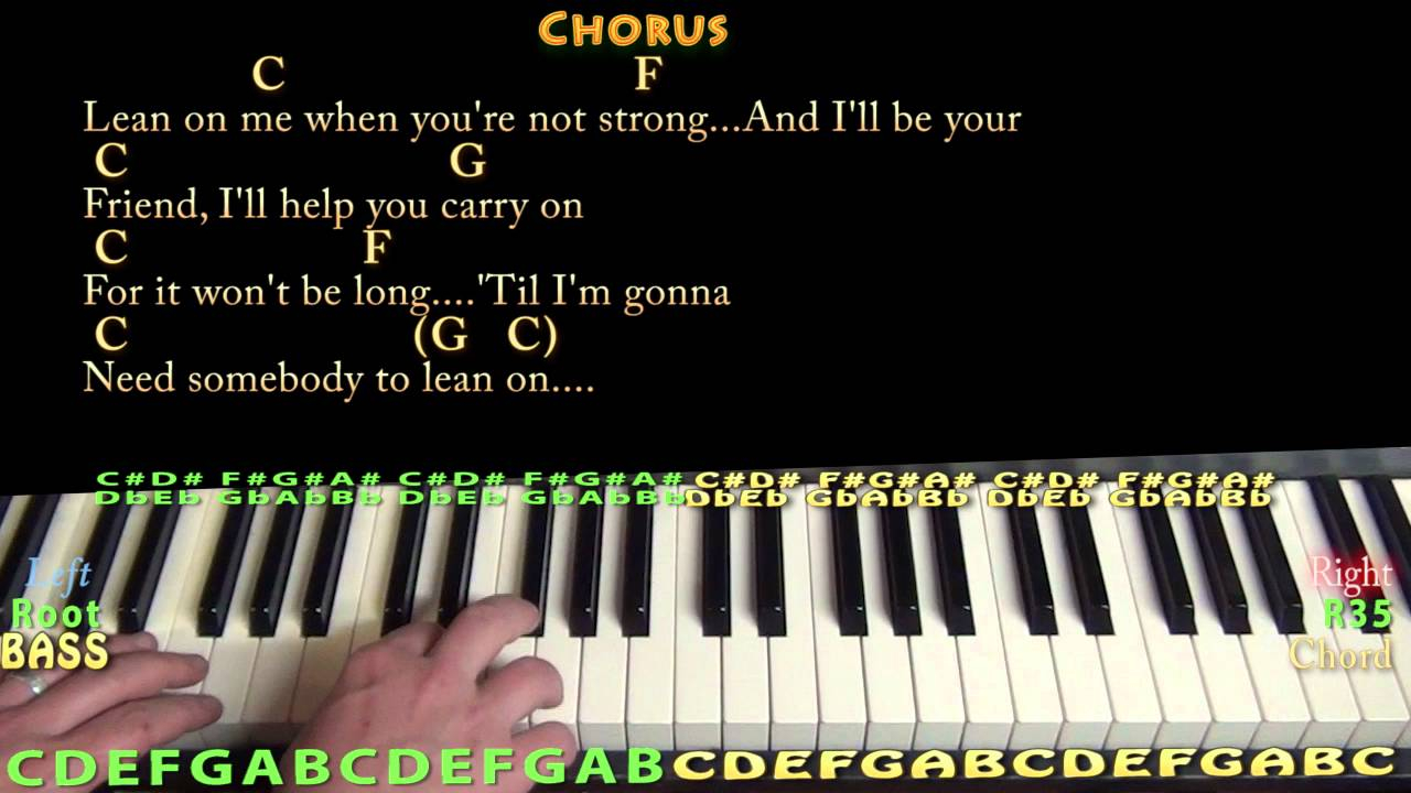 Lean On Me Chords Lean On Me Bill Withers Piano Cover Lesson With Chordslyrics