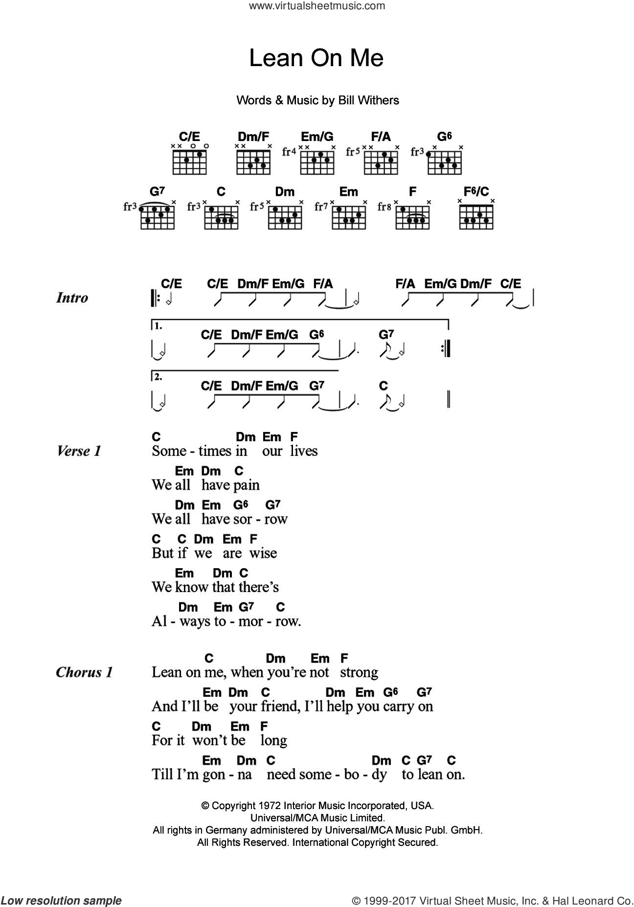 Lean On Me Chords Withers Lean On Me Sheet Music For Guitar Chords Pdf