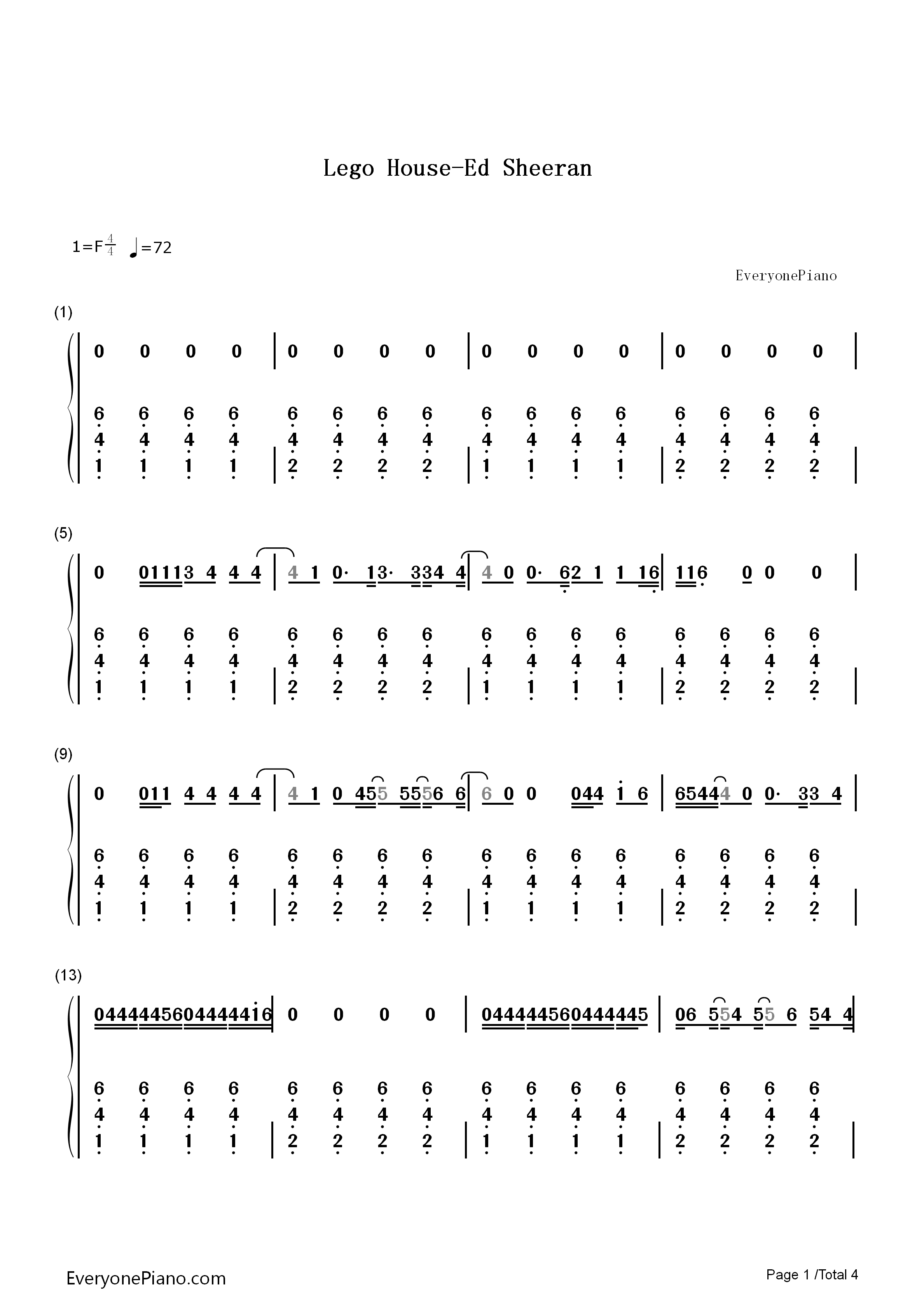 Lego House Chords Lego House Ed Sheeran Numbered Musical Notation Preview