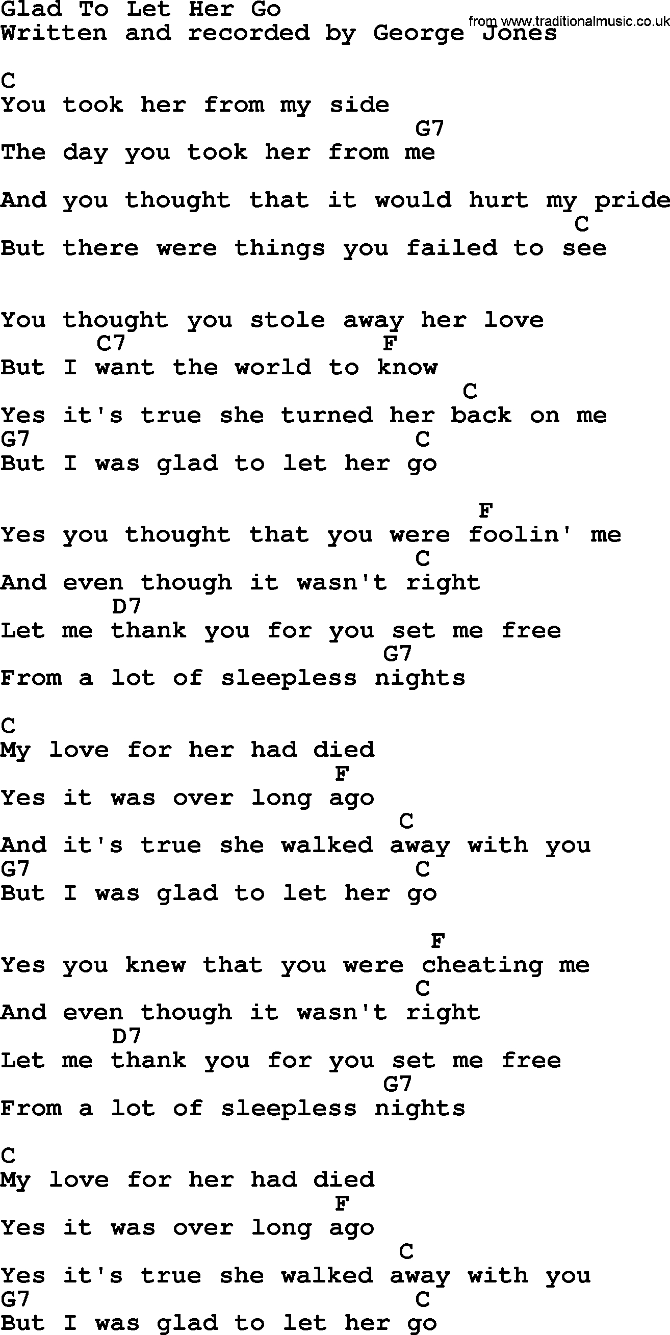 Let Her Go Chords Glad To Let Her Go George Jones Counrty Song Lyrics And Chords