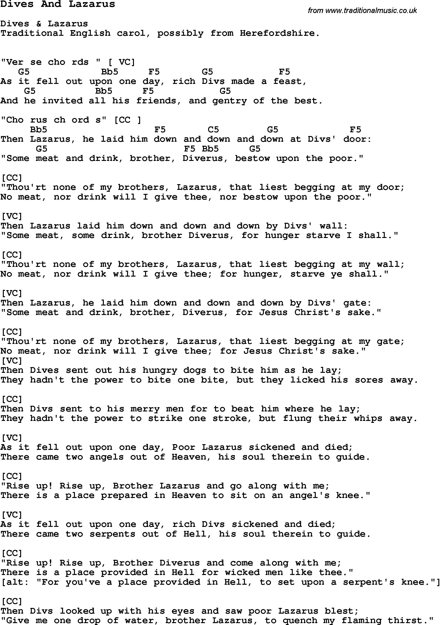 Let It Go James Bay Chords Traditional Song Dives And Lazarus With Chords Tabs And Lyrics