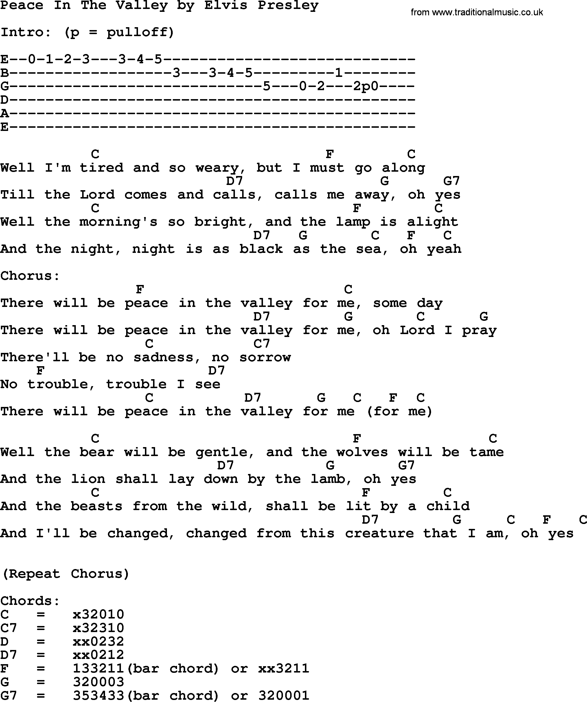 Lion And The Lamb Chords Peace In The Valley Elvis Presley Lyrics And Chords