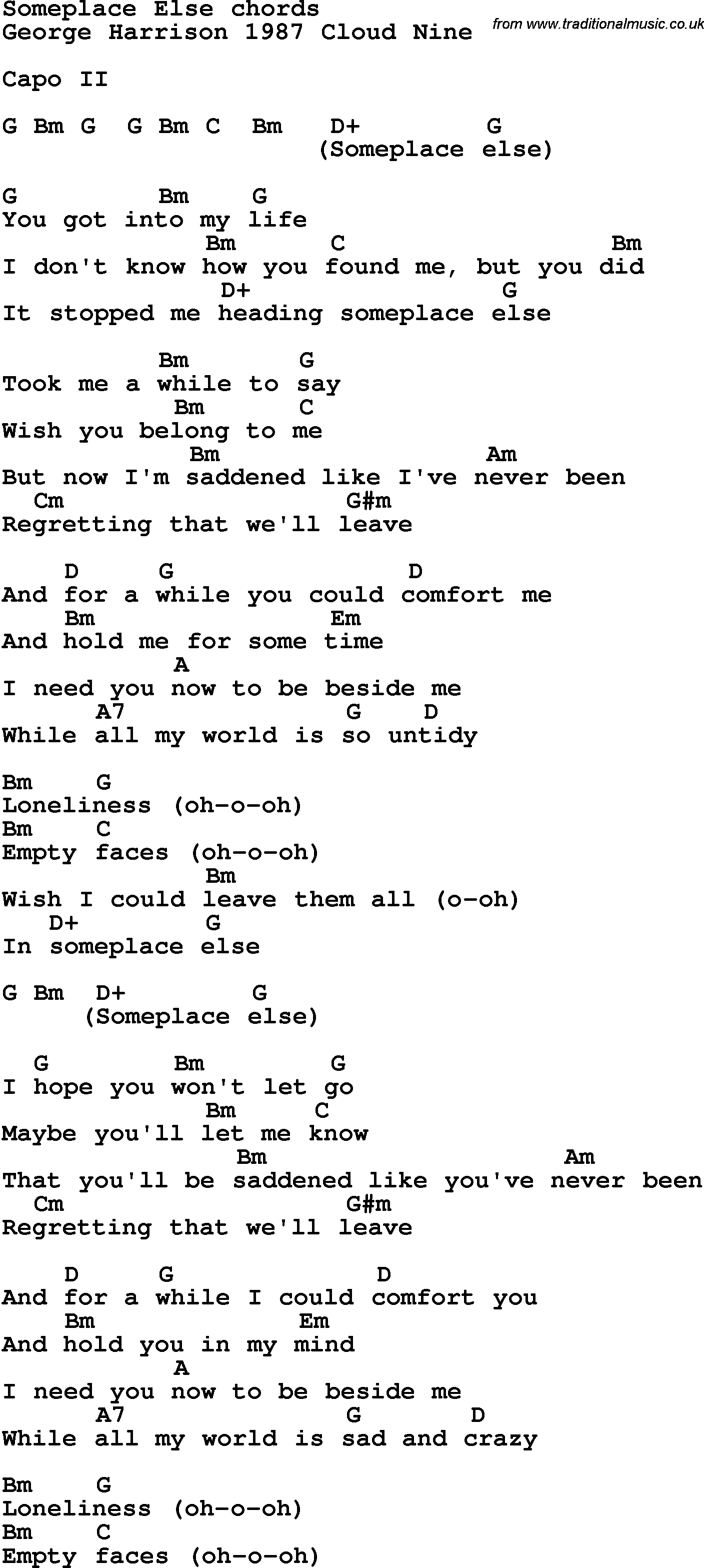 Lion And The Lamb Chords Song Lyrics With Guitar Chords For Someplace Else