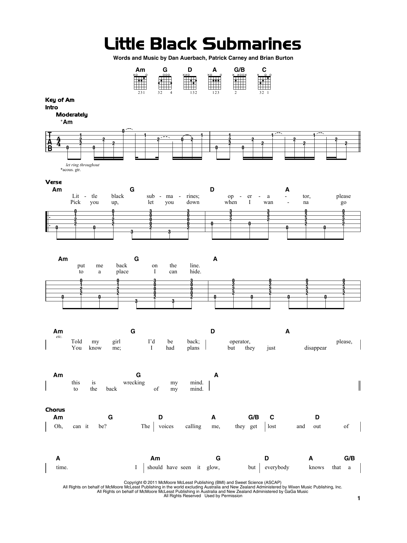 Little Black Submarines Chords Little Black Submarines The Black Keys Really Easy Guitar Digital Sheet Music