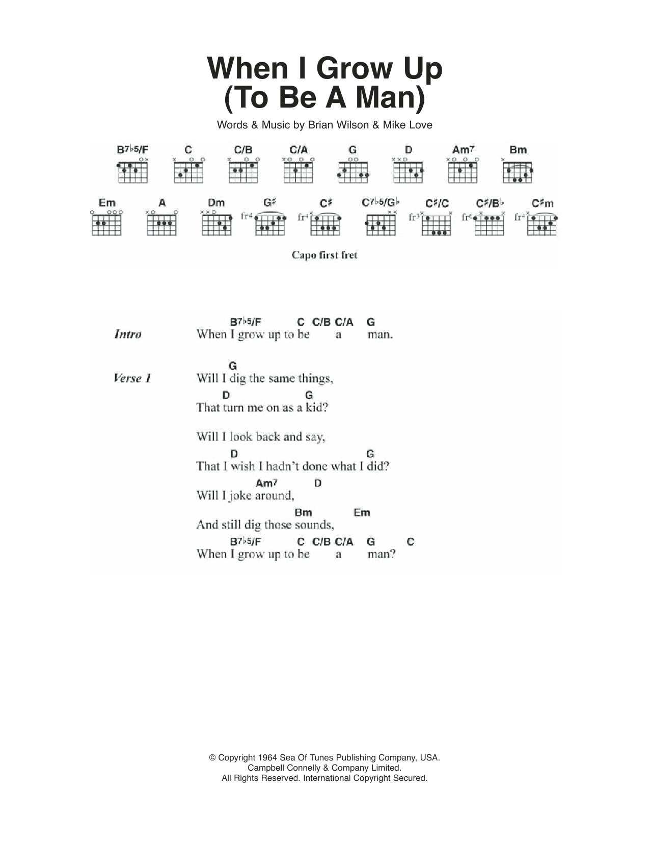 Little Lion Man Chords When I Grow Up To Be A Man The Beach Boys Piano Vocal Guitar Right Hand Melody Digital Sheet Music