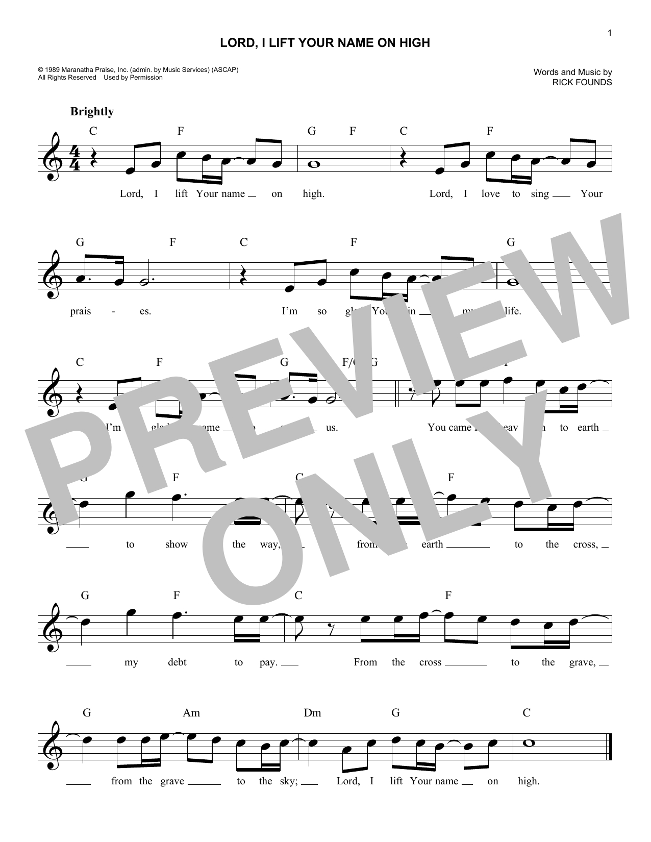 Lord I Lift Your Name On High Chords Lord I Lift Your Name On High Rick Founds Piano Vocal Guitar Right Hand Melody Digital Sheet Music