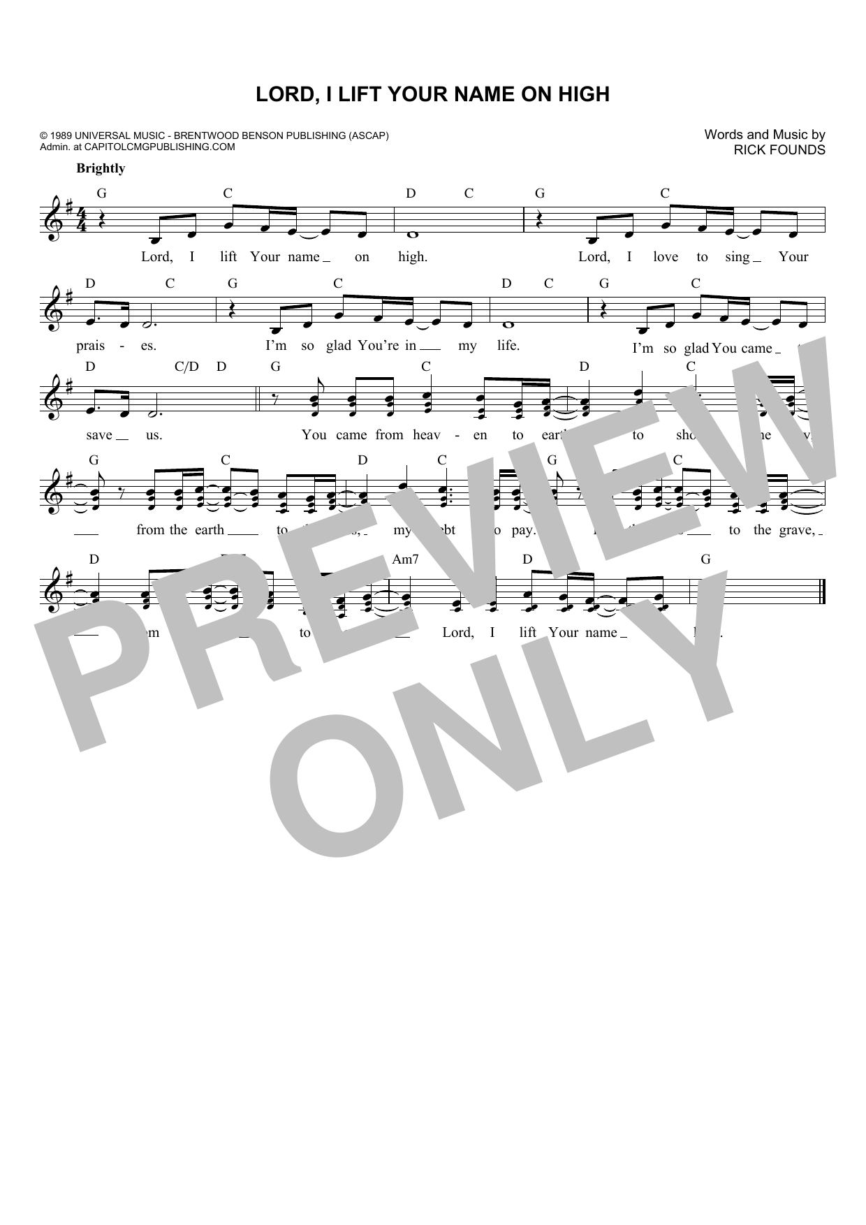 Lord I Lift Your Name On High Chords Rick Founds Lord I Lift Your Name On High Sheet Music Notes Chords Download Printable Melody Line Lyrics Chords Sku 180119
