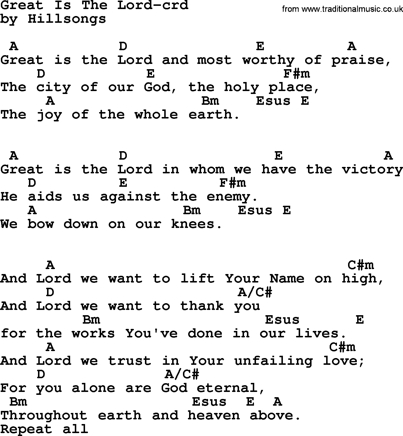 Lord I Lift Your Name On High Chords Top 500 Hymn Great Is The Lord Lyrics Chords And Pdf
