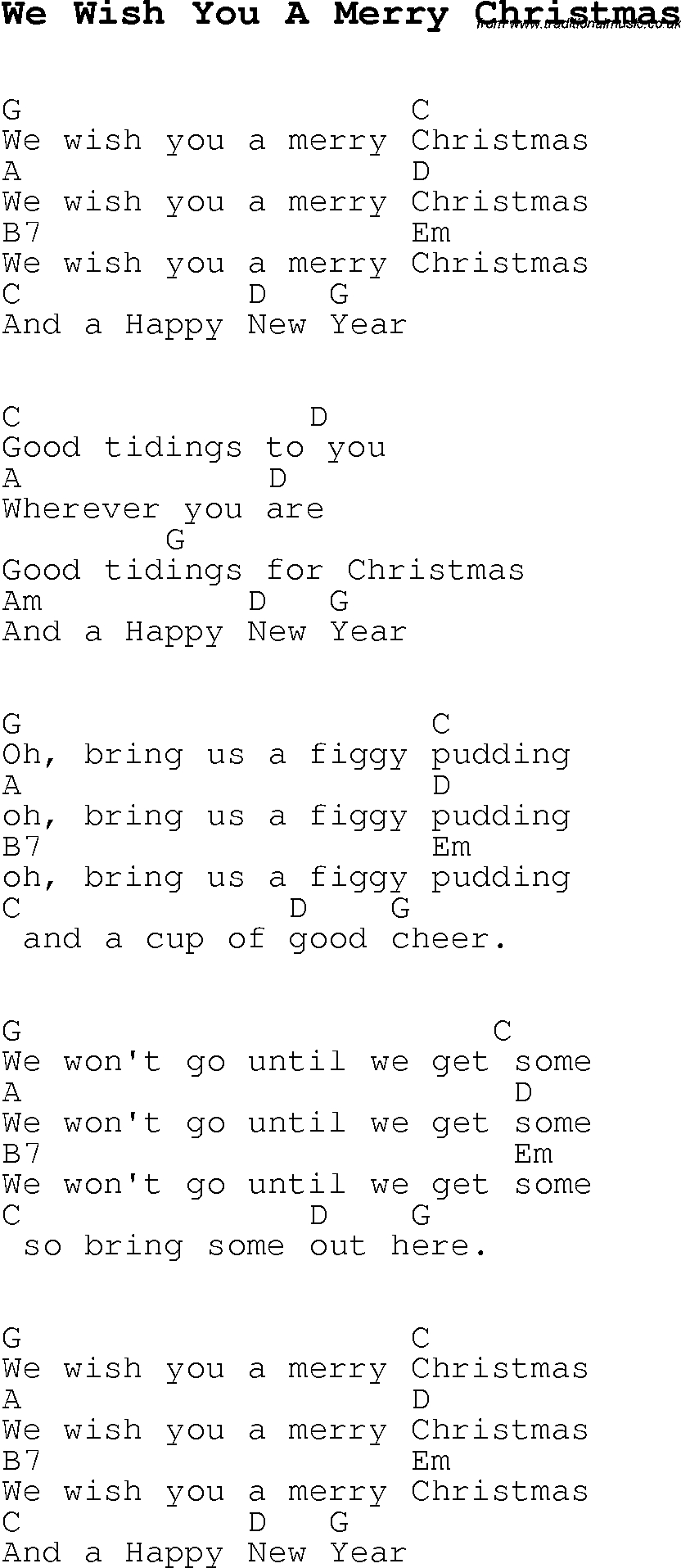 Lord I Need You Chords Christmas Carolsong Lyrics With Chords For We Wish You A Merry